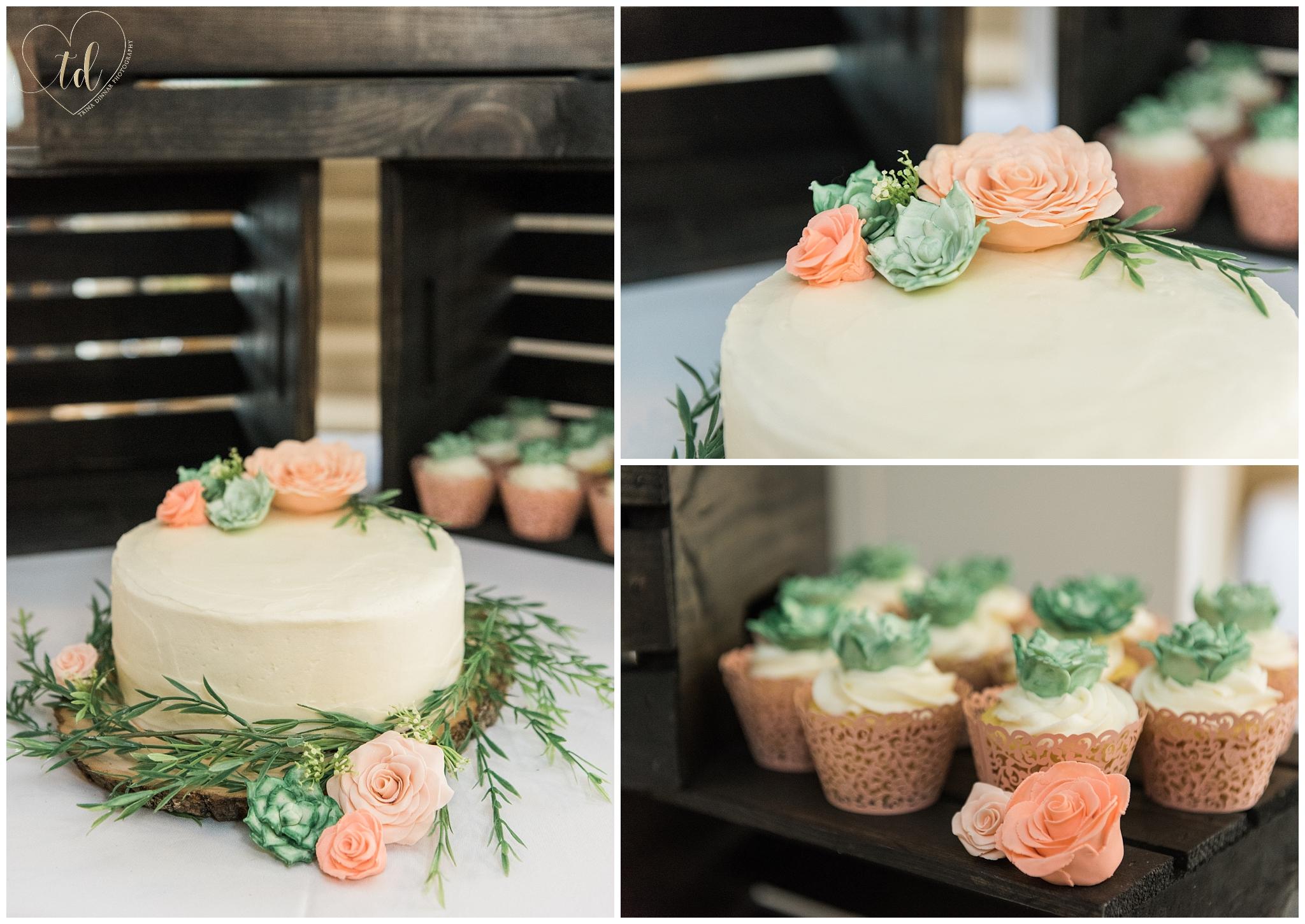 Maine Wedding Cake and cupcakes
