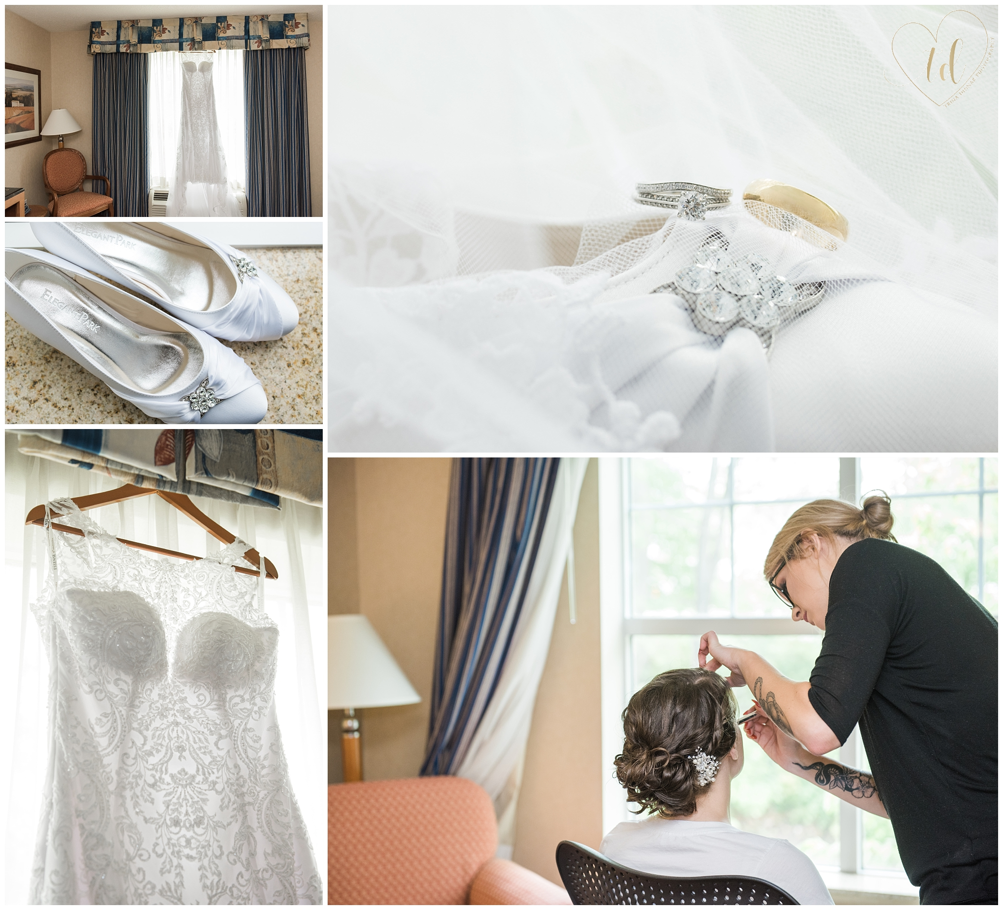 Getting ready wedding details at the Hilton Garden Inn in Downtown Freeport, Maine.