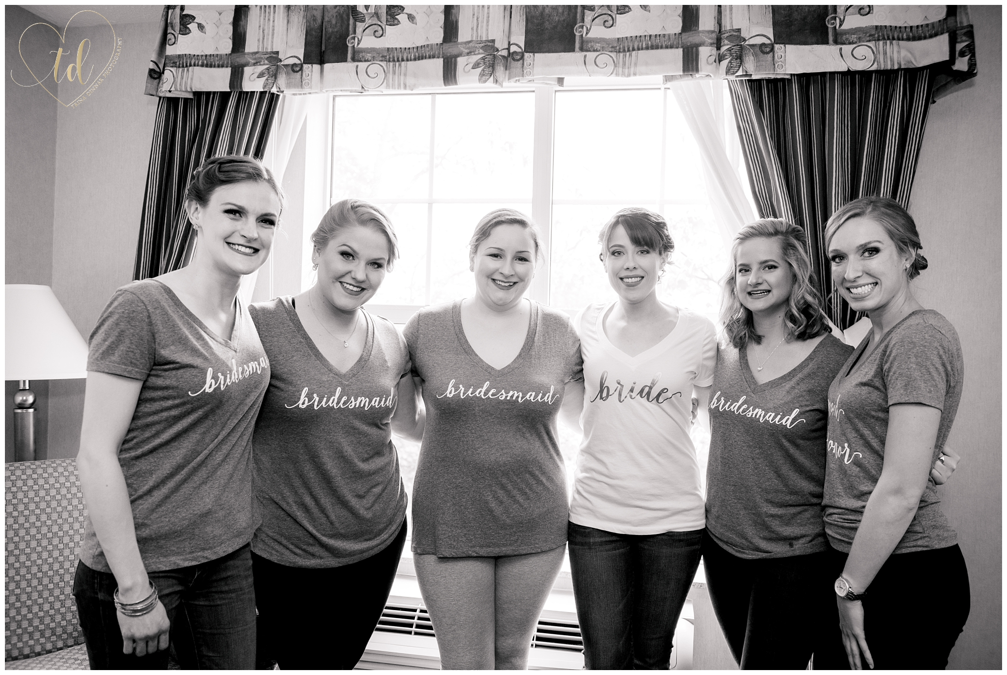 Bride and her Bridesmaids at the Hilton Garden Inn in Freeport, ME