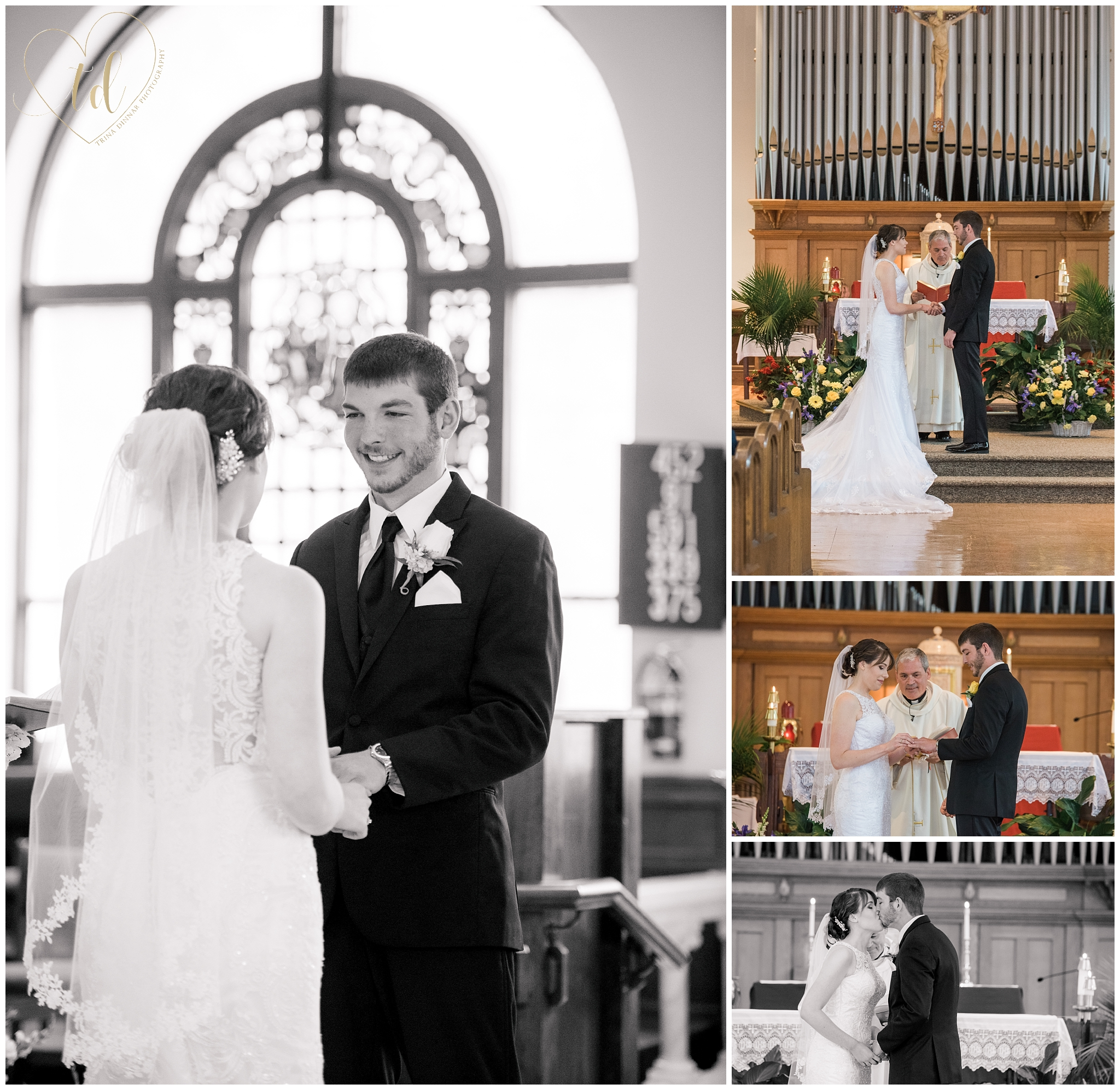 Maine Wedding ceremony at the Sacred Heart Church in Yarmouth, Maine.