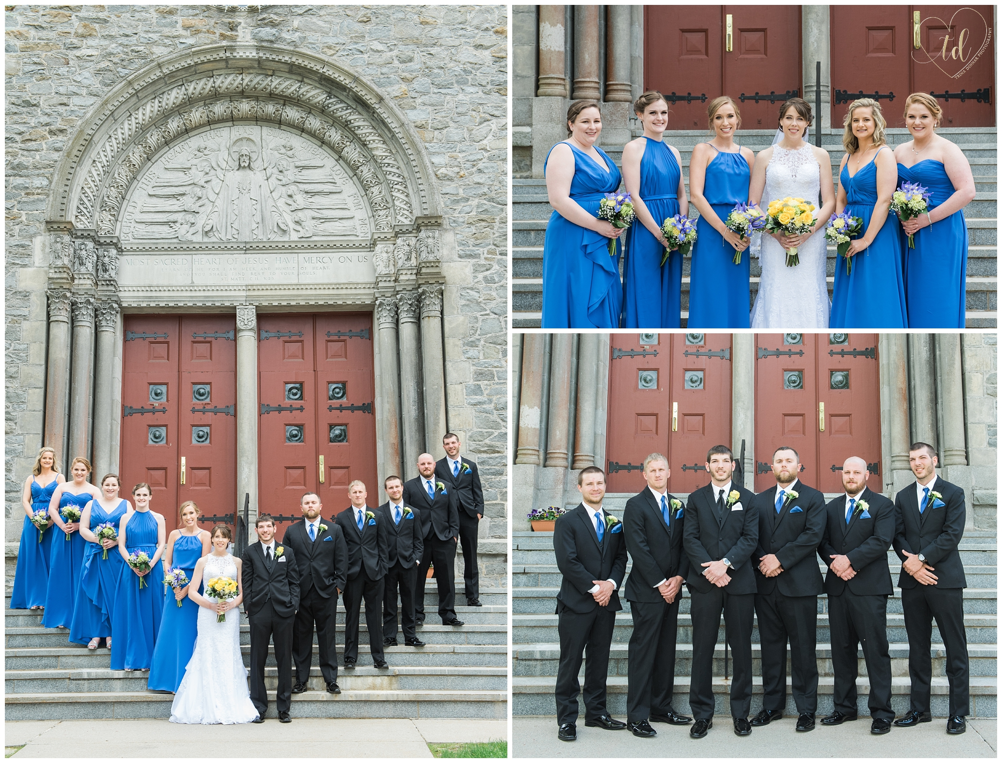 Wedding portrait photography at the Sacred Heart Church Yarmouth, ME.