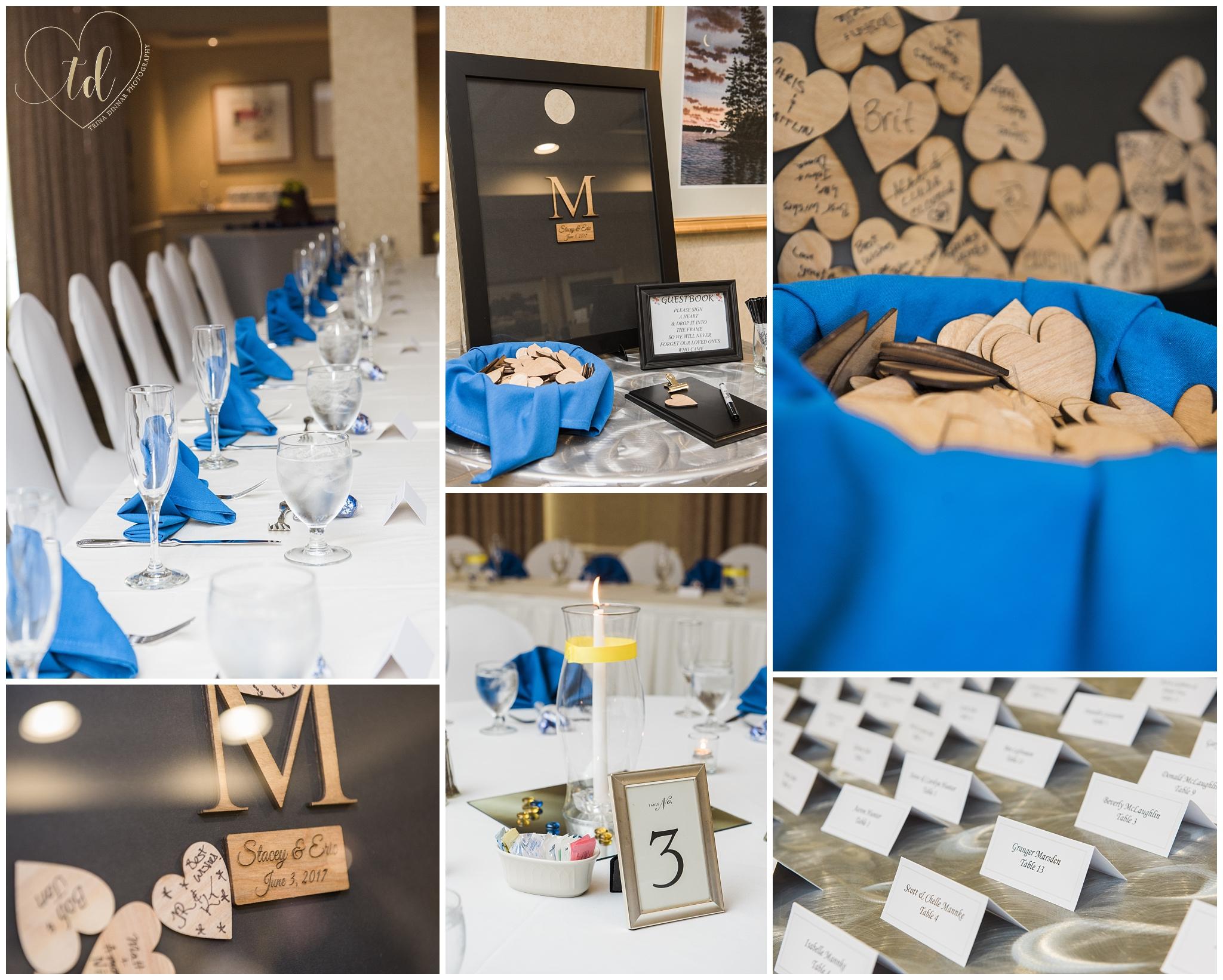 Wedding Reception details at the Hilton Garden Inn in Freeport, ME.