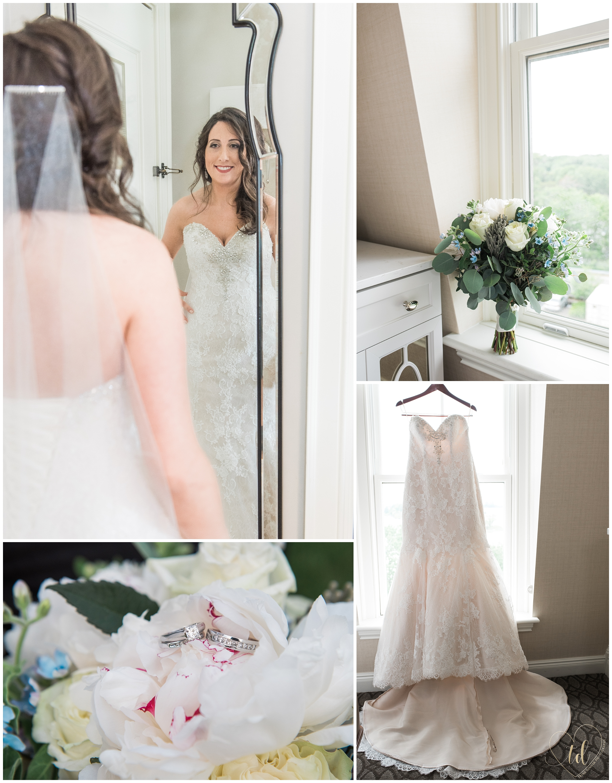 Bride prepares for her wedding at the Bridal Suite at Wentworth in New Castle, NH.