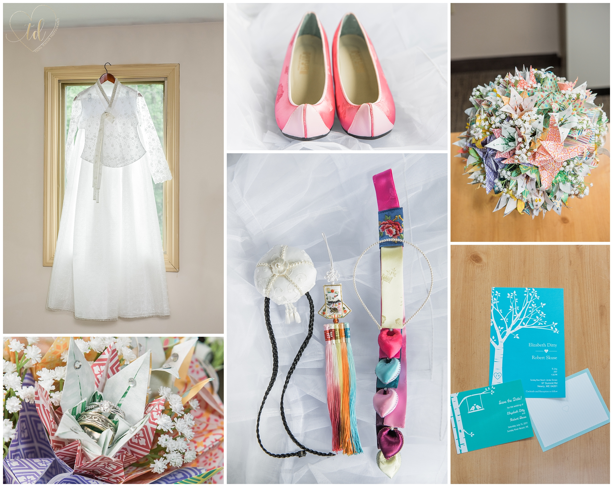A Maine bride's Korean inspired wedding details including bridal gown, shoes and bouquet.