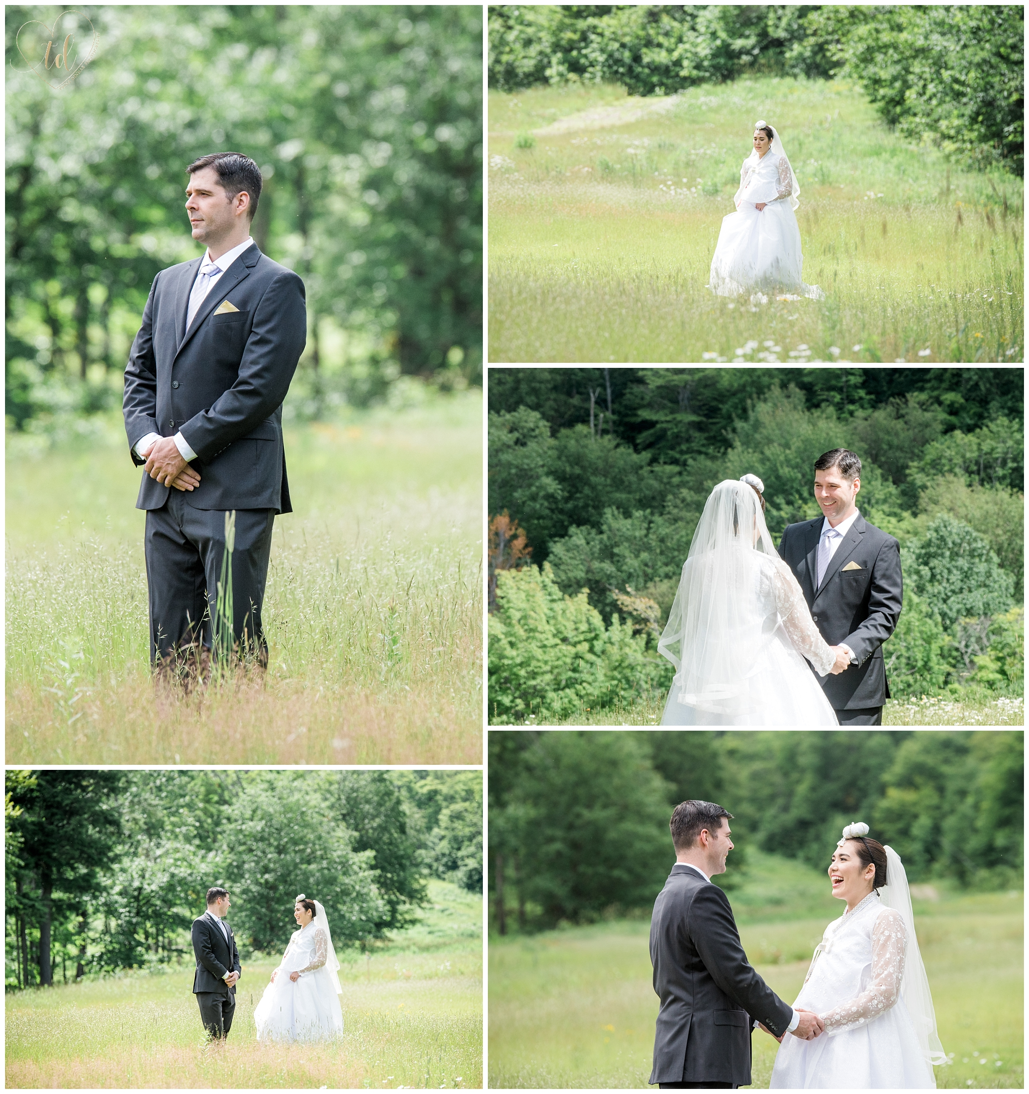 Bride and groom share their first look at Jordan Terrace at Sunday River.