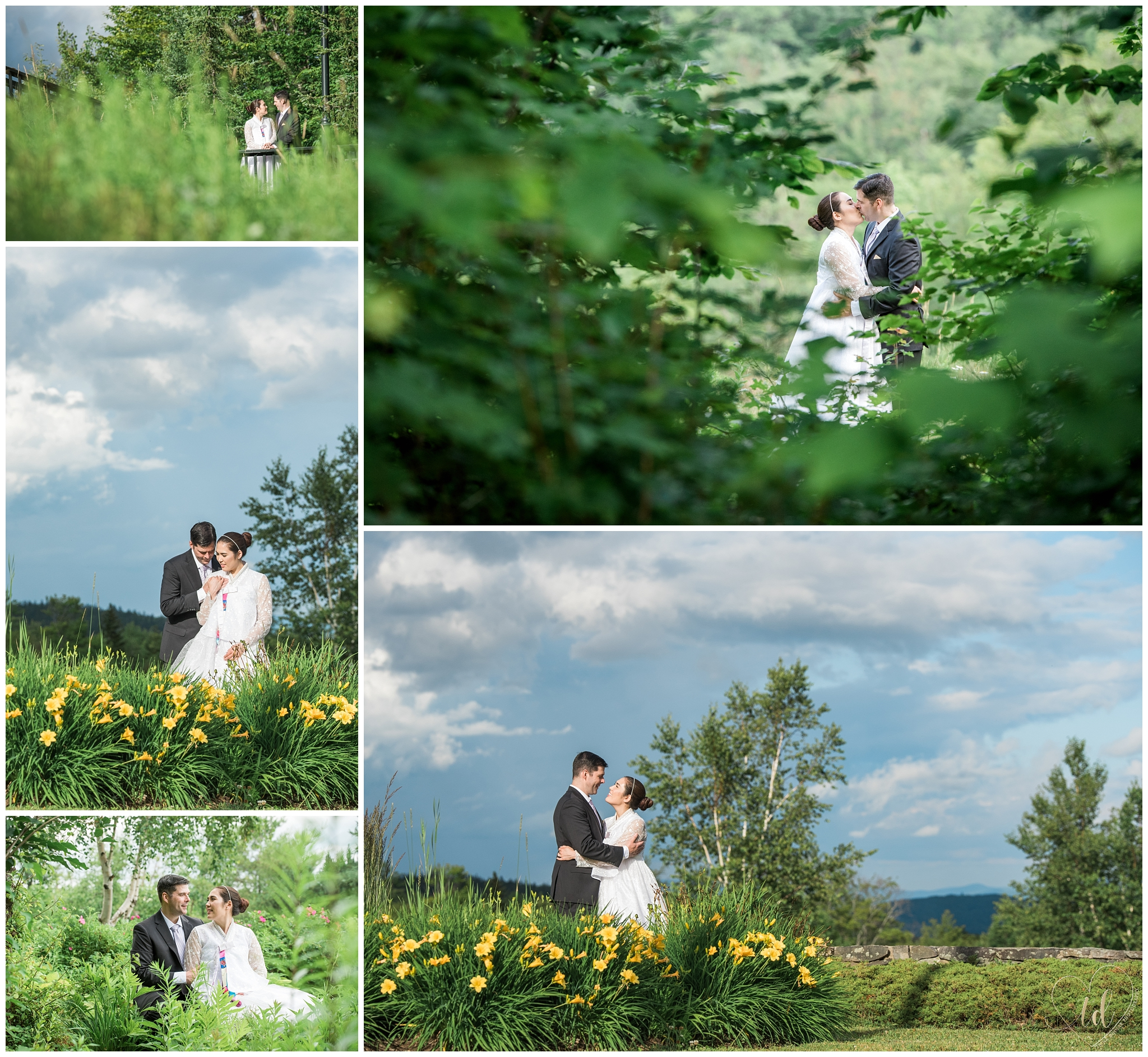 Bride and Groom wedding portraits at Sunday River in Newry, ME