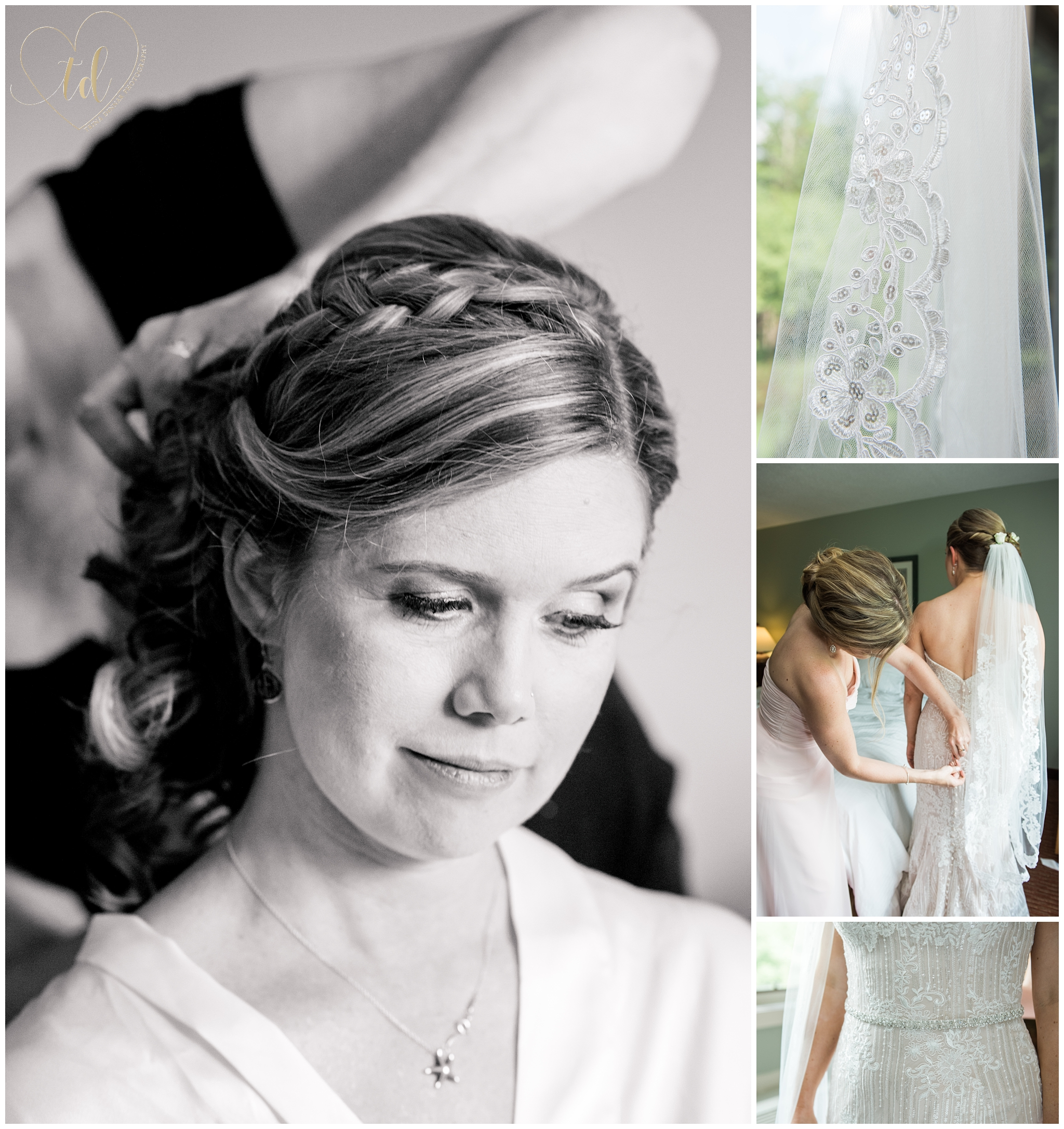Photos of a Maine bride getting ready for her wedding.