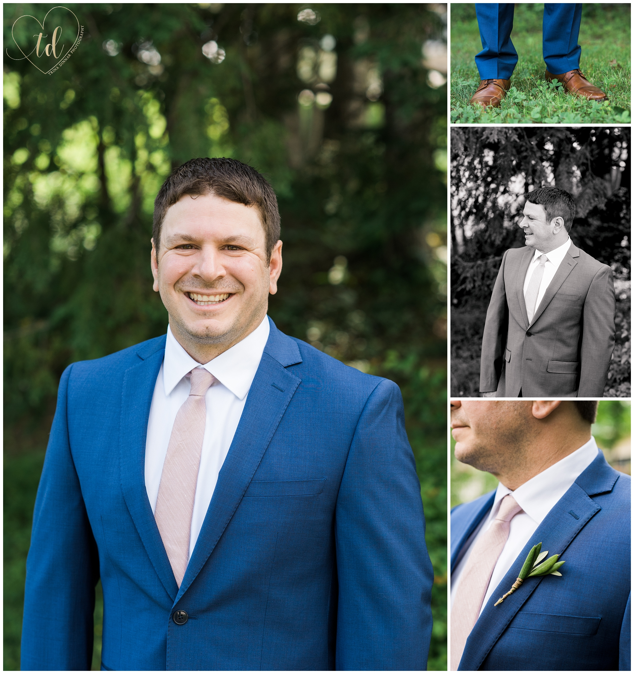 Portraits of a Maine groom as he prepares for his wedding day.