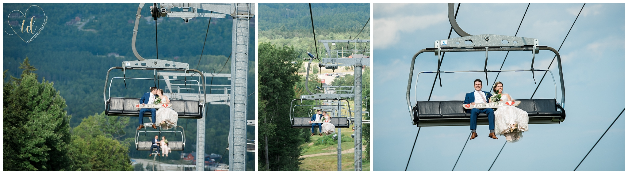 Bride and groom ride the chairlift to North Peak Lodge for their Sunday River wedding.