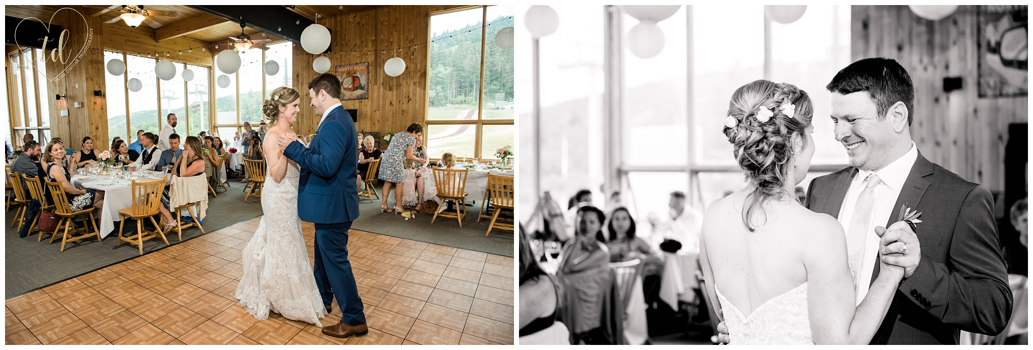 Couple shares their First Dance at Peak Lodge during their Sunday River Wedding.