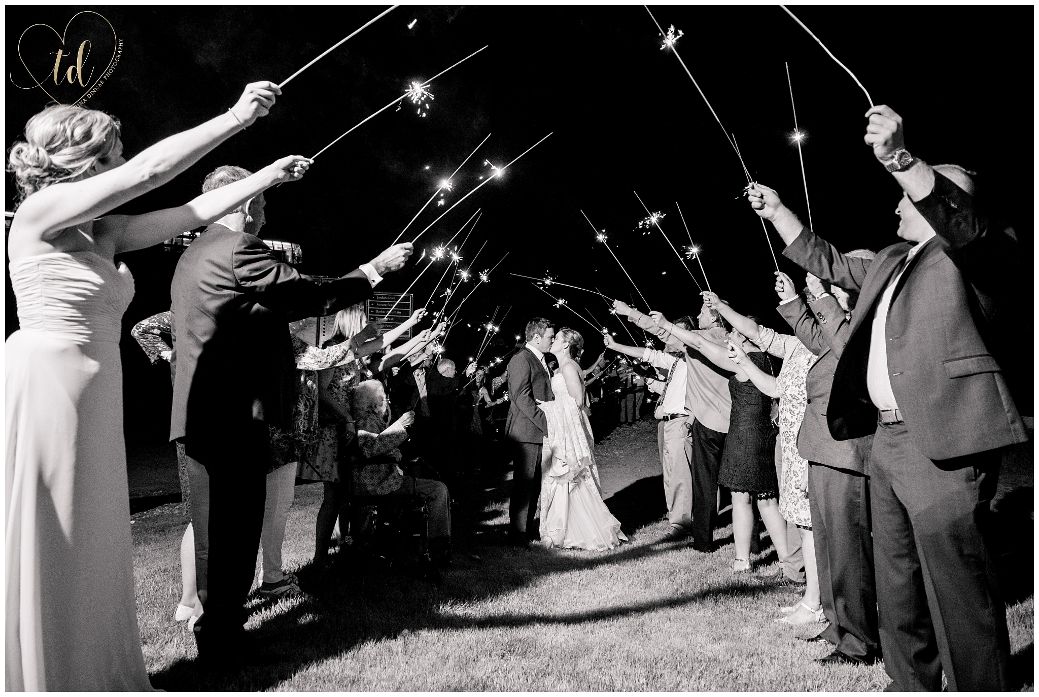 Sparkler Send Off Wedding Photography in Maine
