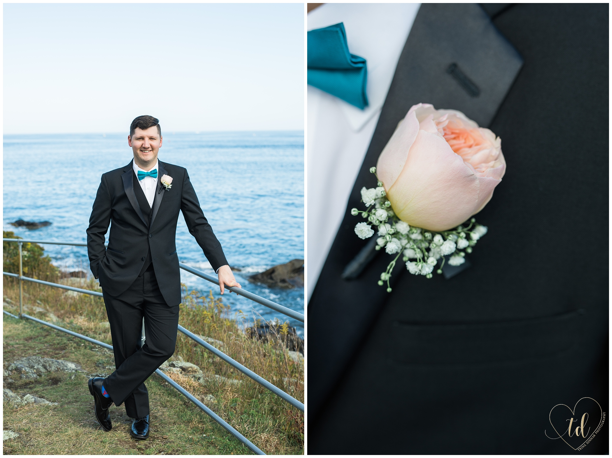 Maine Groom, Owen, shows off his suit, tie and boutonniere