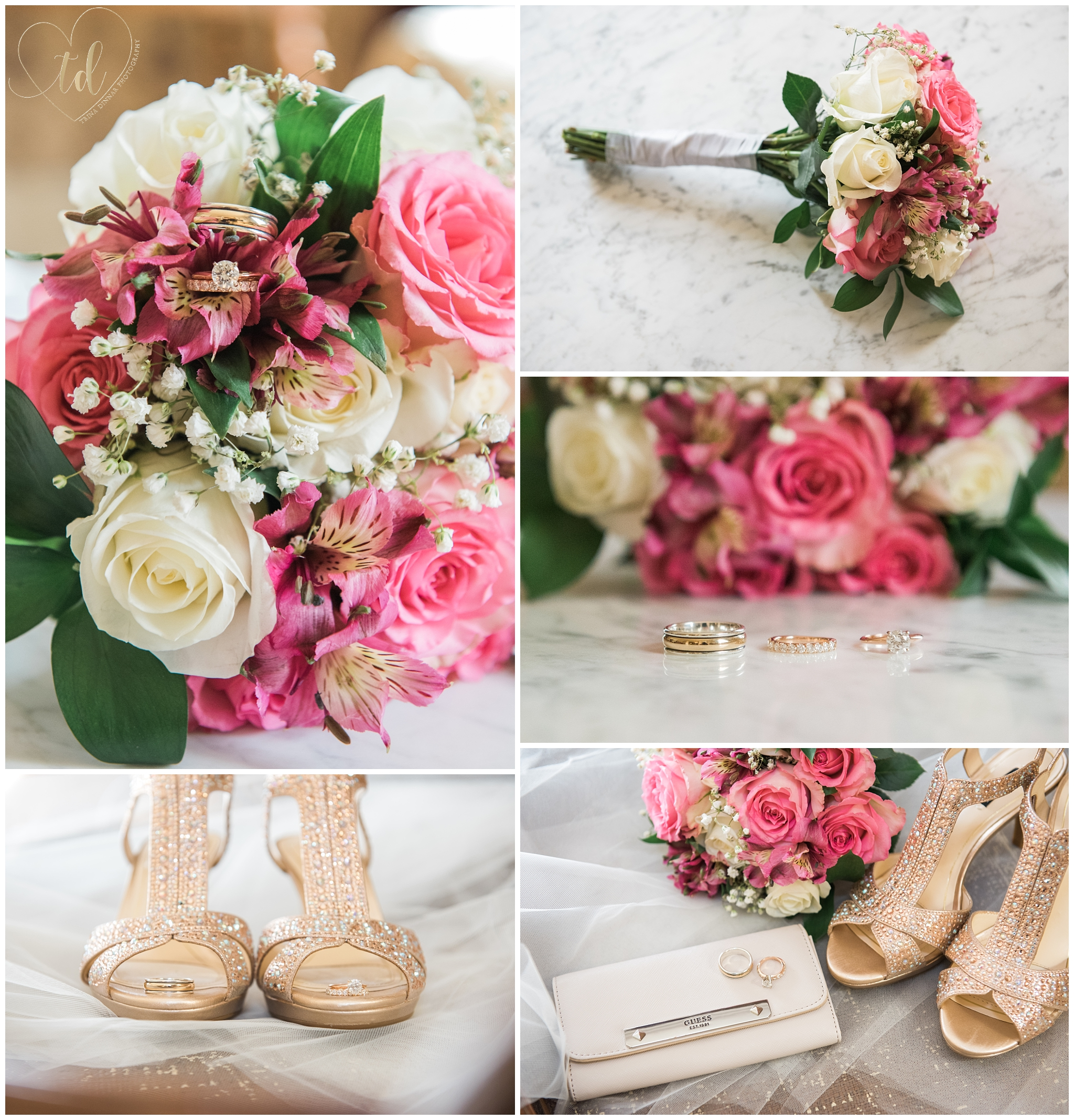 Maine Bridal Wedding Detail Photography of Bouquet, Rings and Shoes.