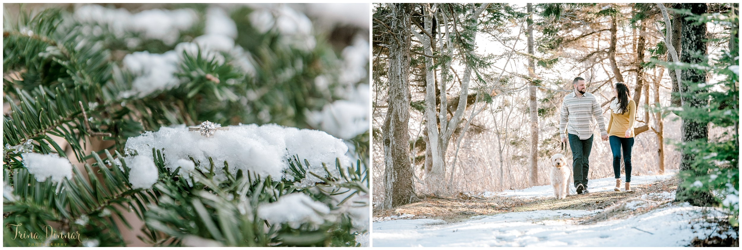 Engagement photography during a Maine winter.