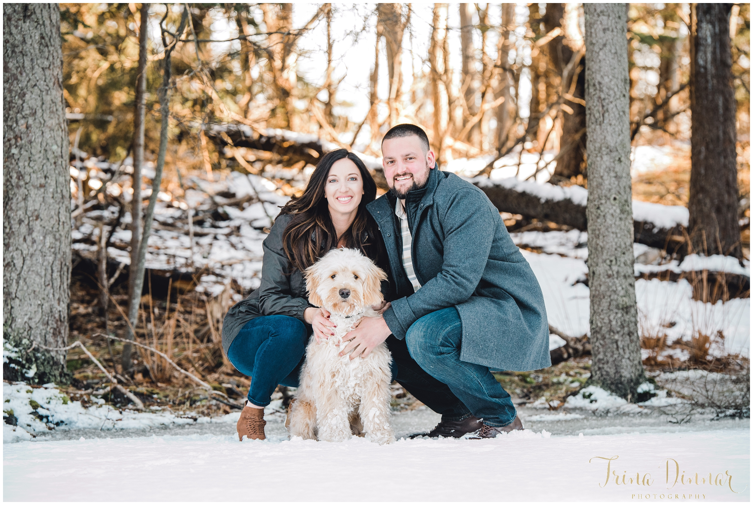 Maine Portrait Photographer captures couple with their dog.