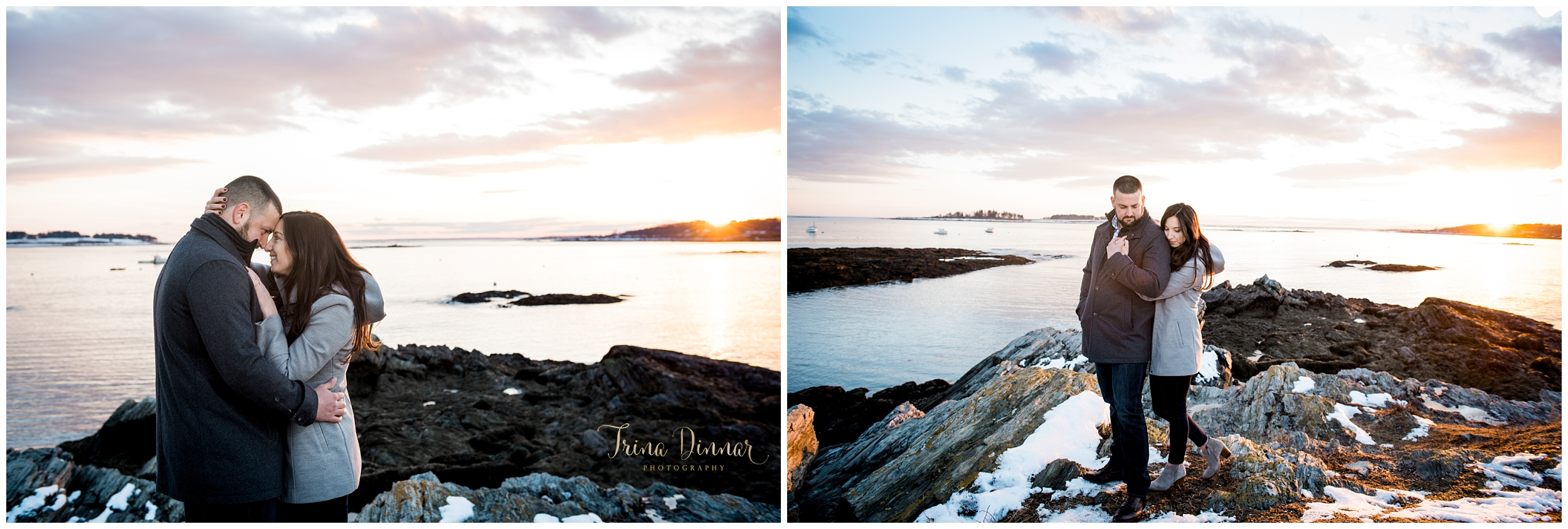 Engagement Photographers in Maine photograph couple at sunset.