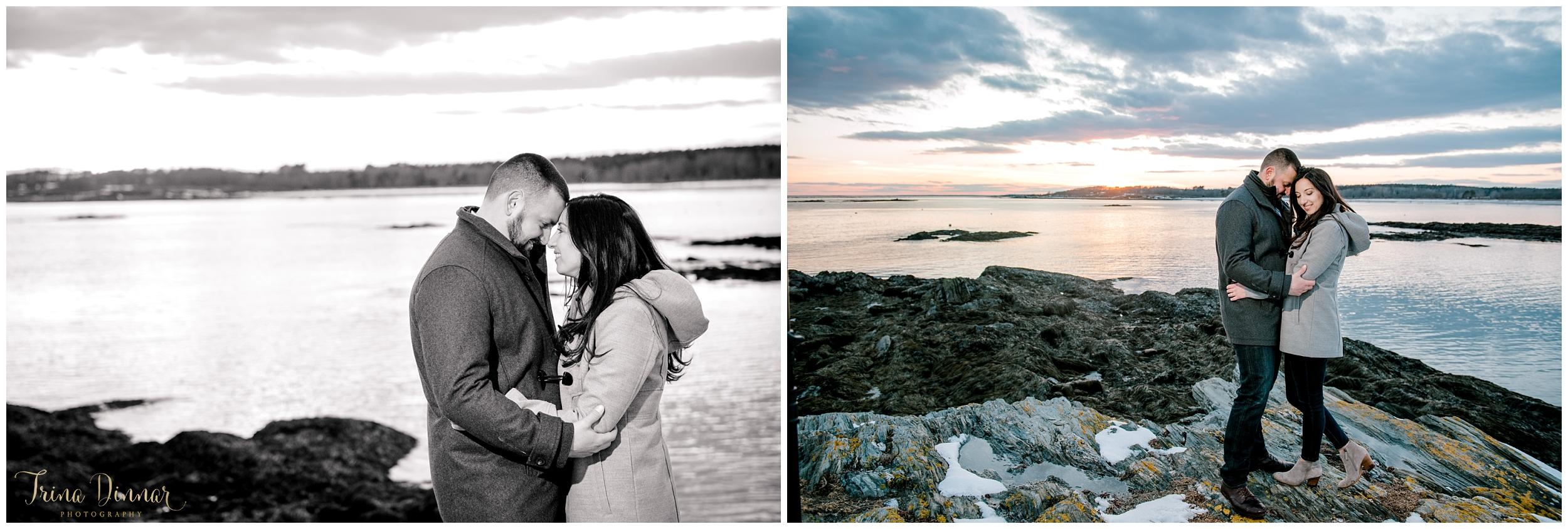 Photographers in Portland Maine capture coastal couples portraits.