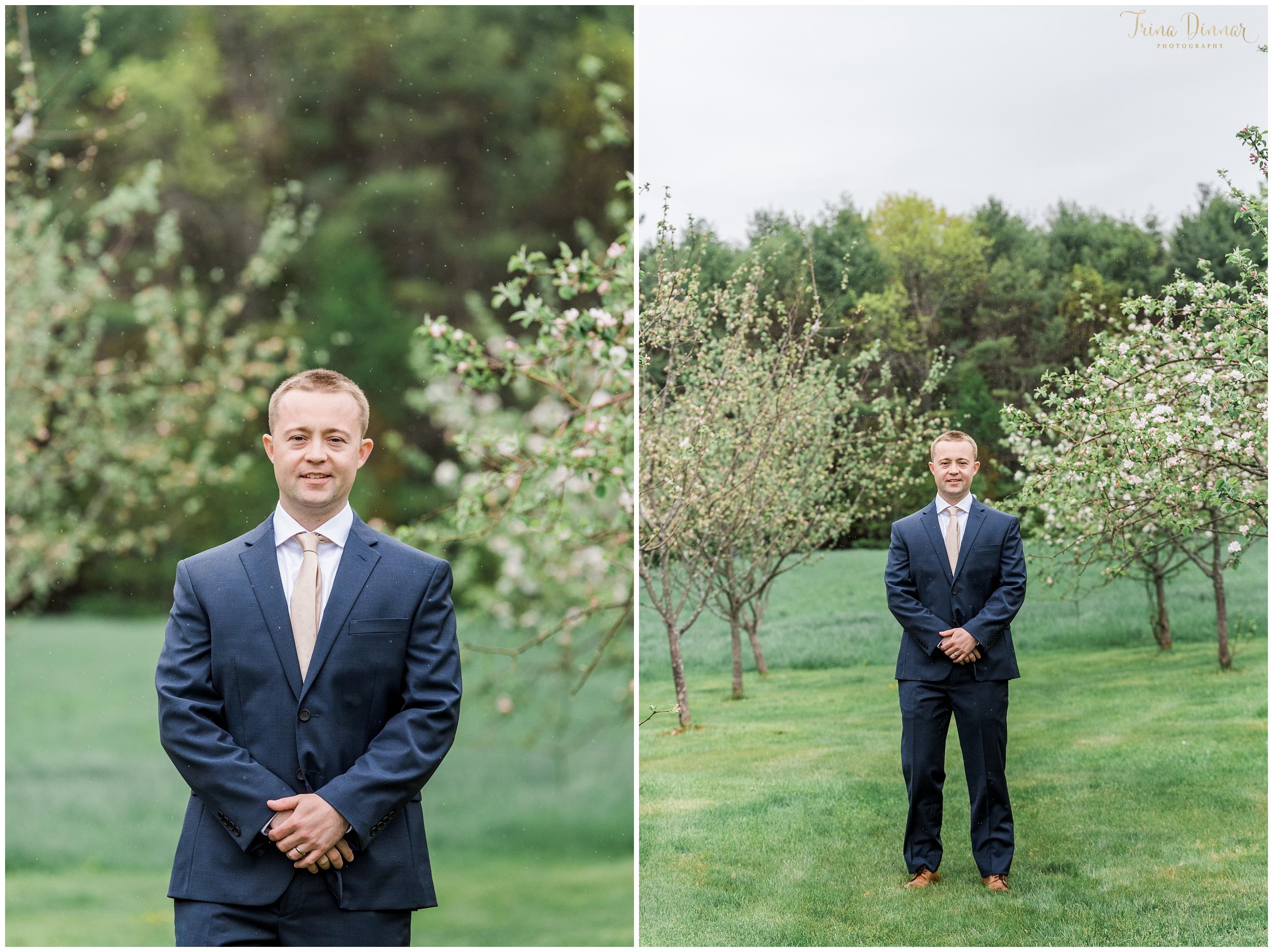 Maine Groom Apple Blossom Portraits
