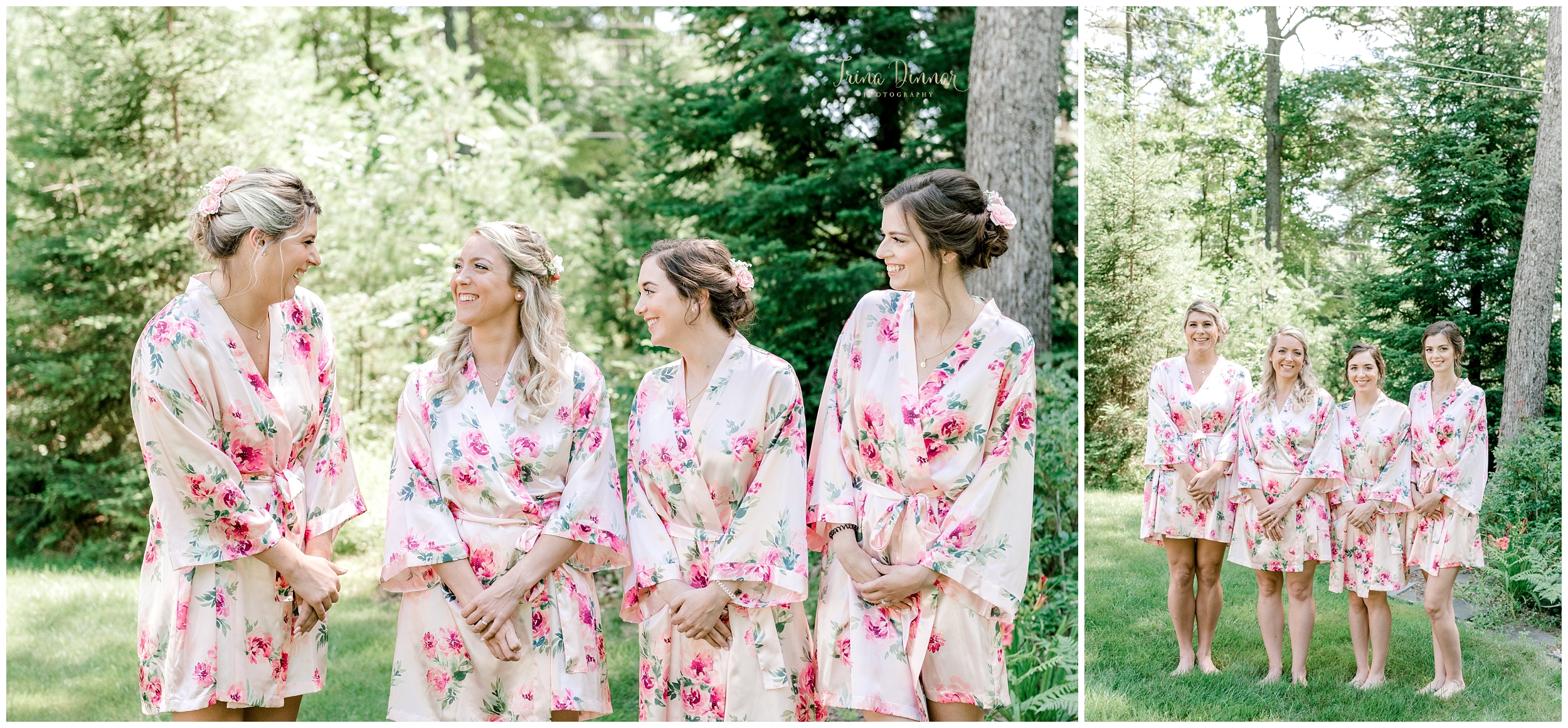 Ladies Getting Ready for Wedding with Robes in Maine.