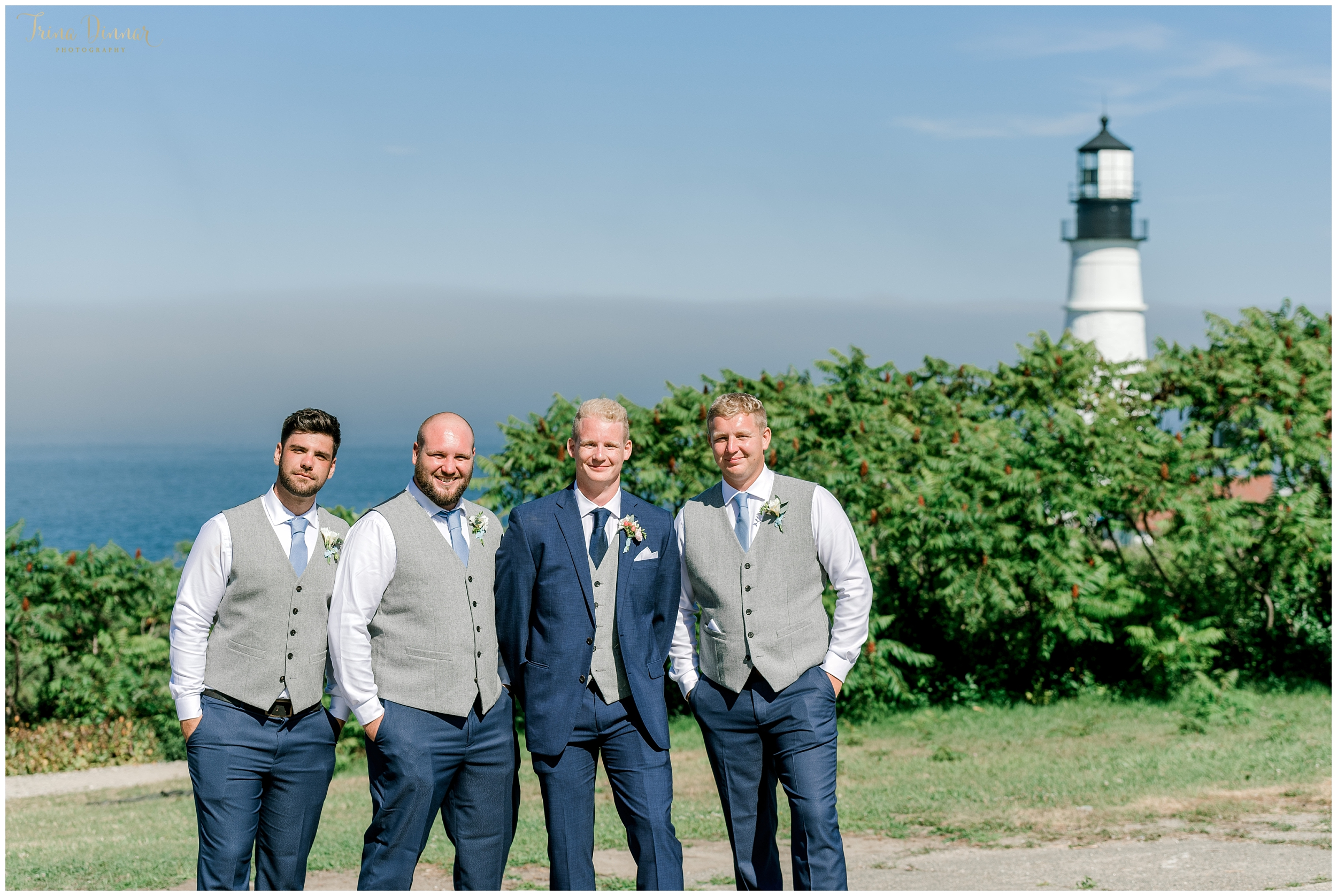 Maine Lighthouse Groom Guys Wedding Photos
