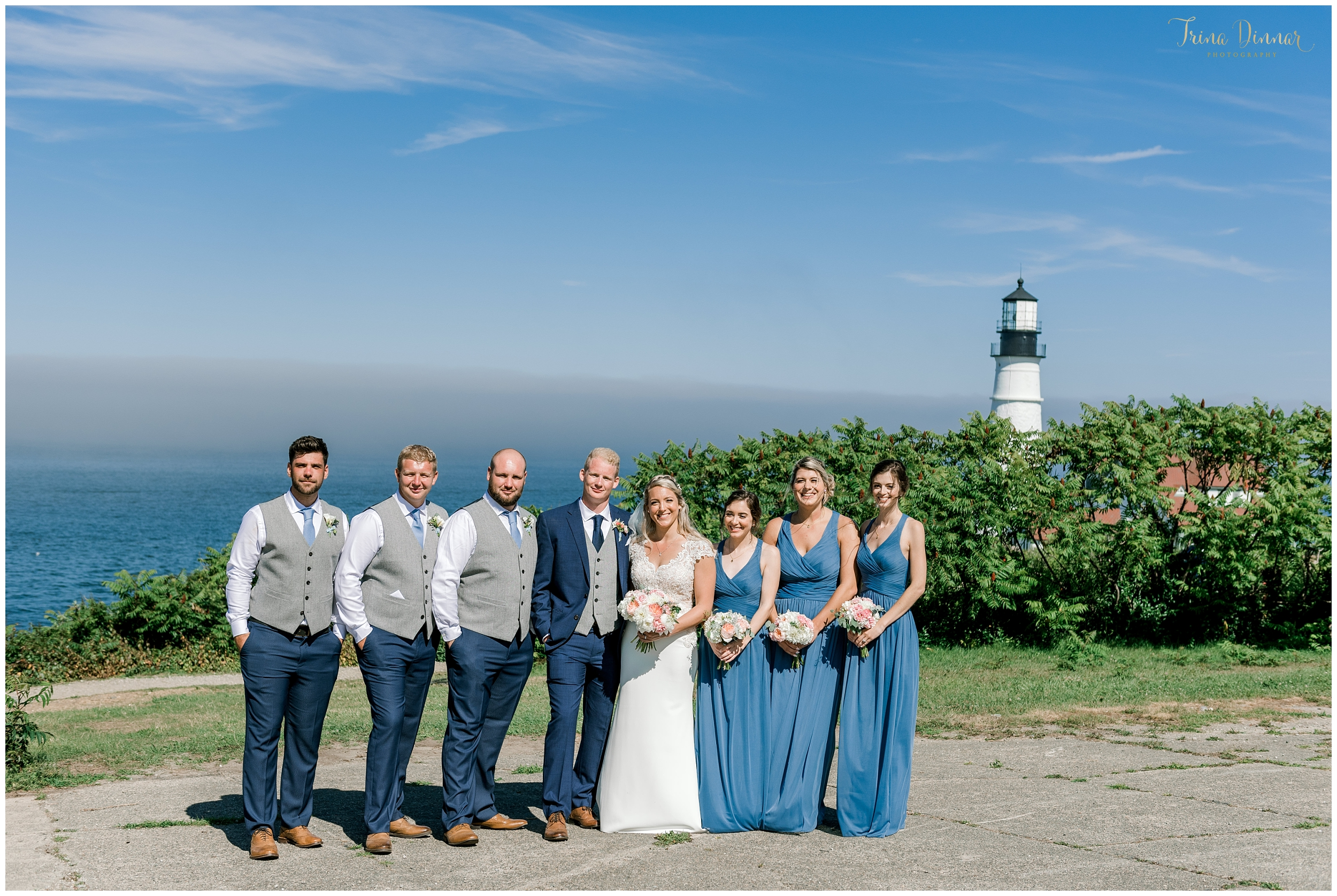 Wedding Party at Portland Headlight in Cape Elizabeth ME