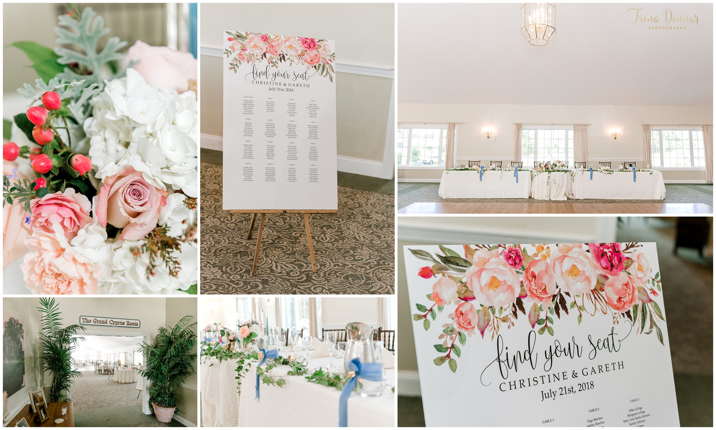 Wedding Decor and Signage at Dungrass Golf Club in OOB, Maine.