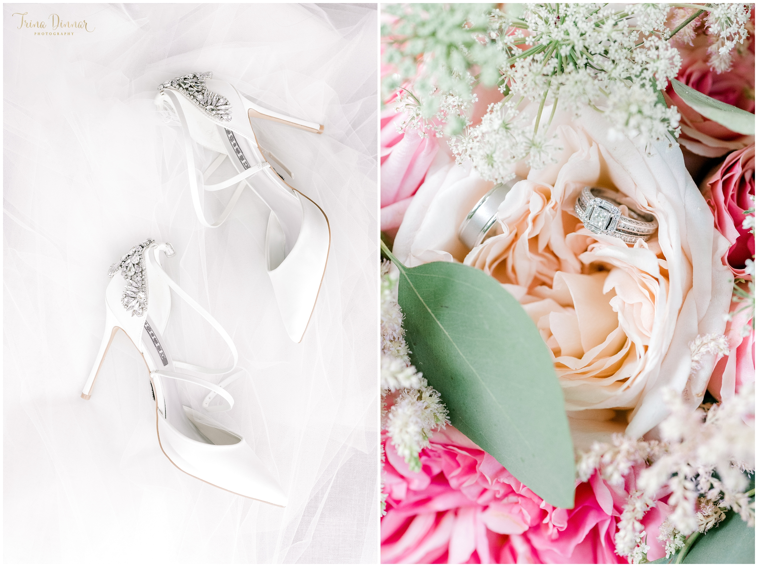 Wedding Photography Details in Maine including shoes, veil, flowers and rings.