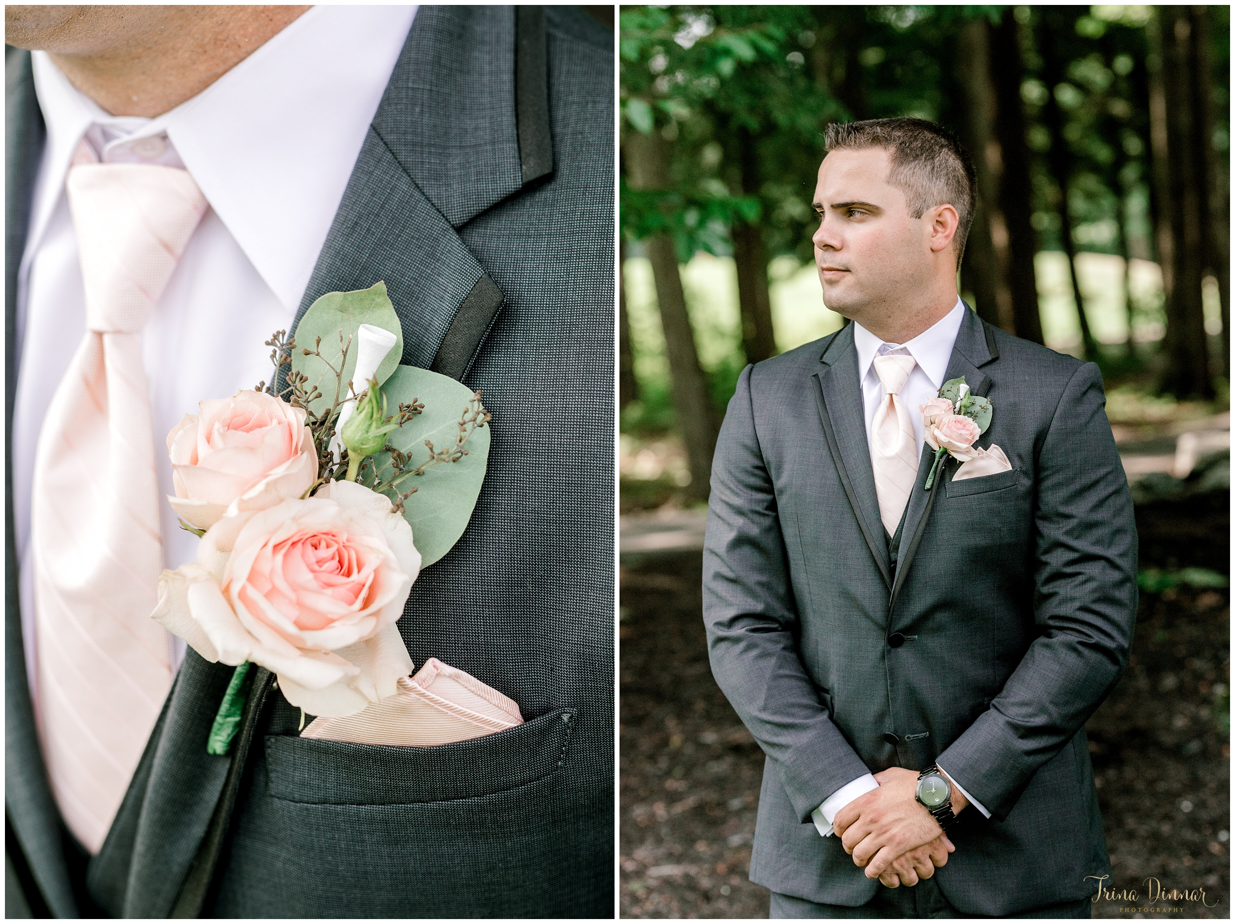 Groom portraits showing off his Golf Tee Boutonniere