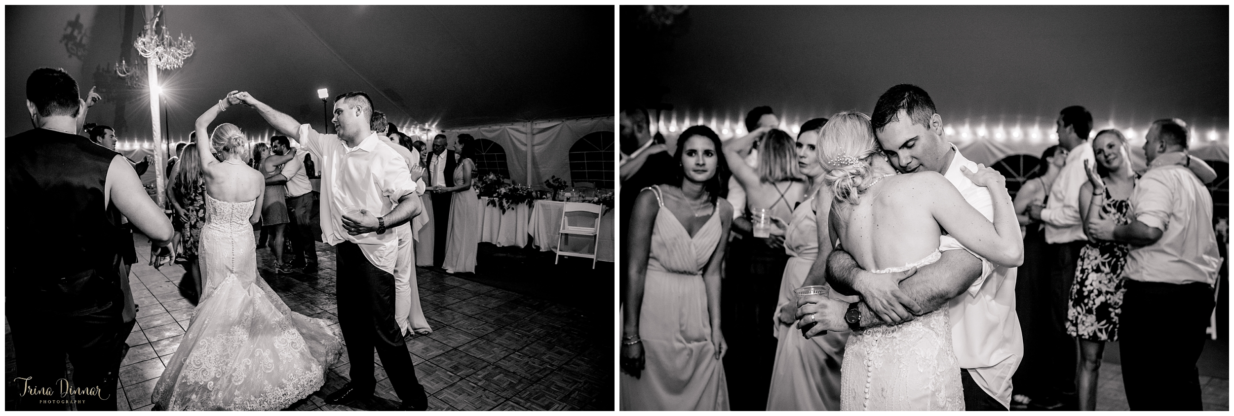 Ashton and John's last dance at their tented Maine wedding reception