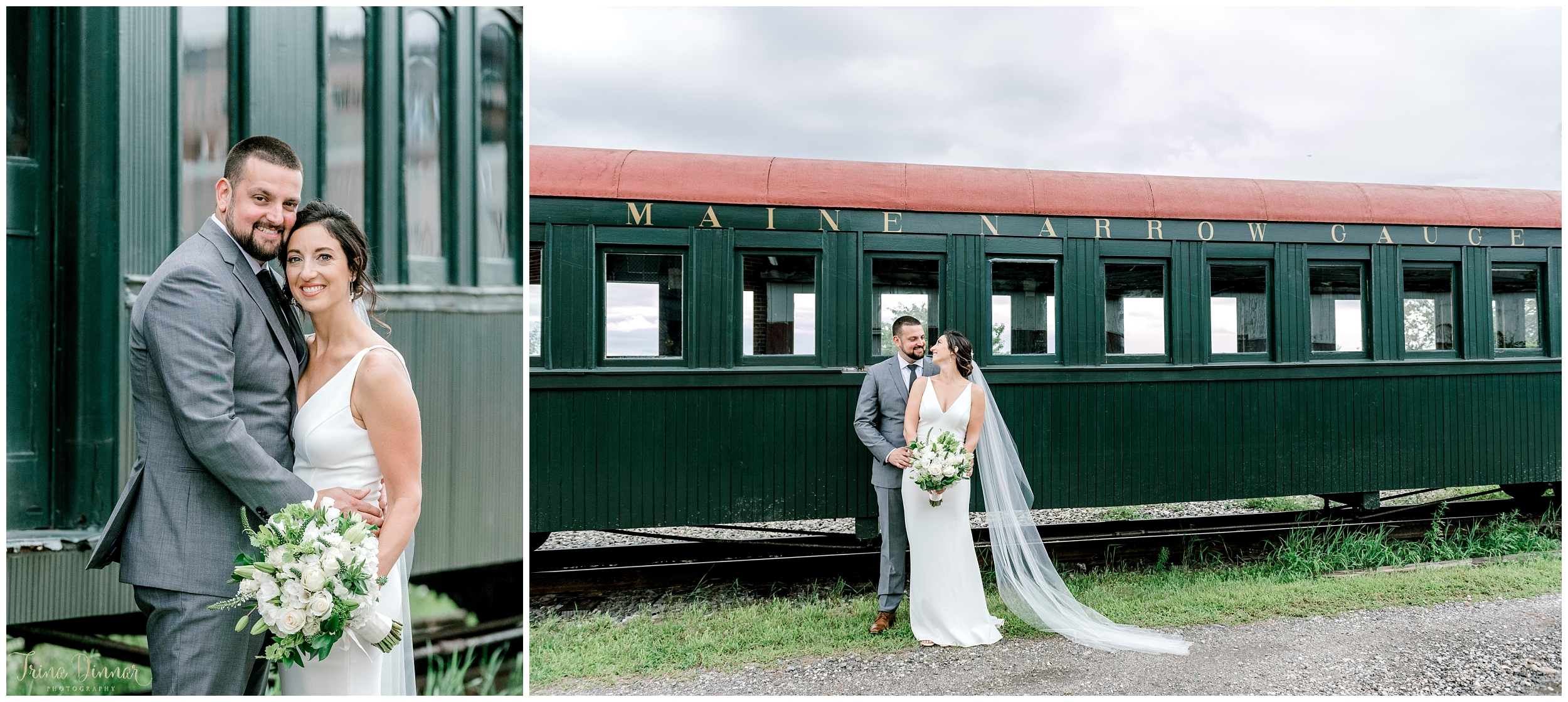 Bride and Groom portraits at the Narrow Gauge Railroad Co. & Museum in Portland, Maine.