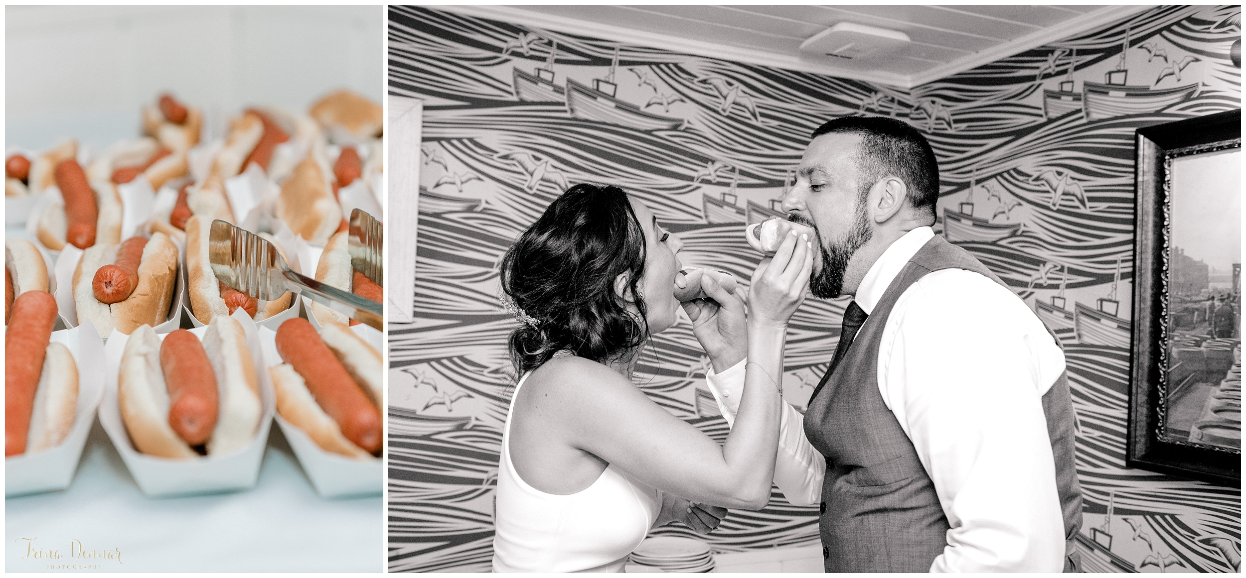 Bride and Groom Feeding Each Other Hot Dogs
