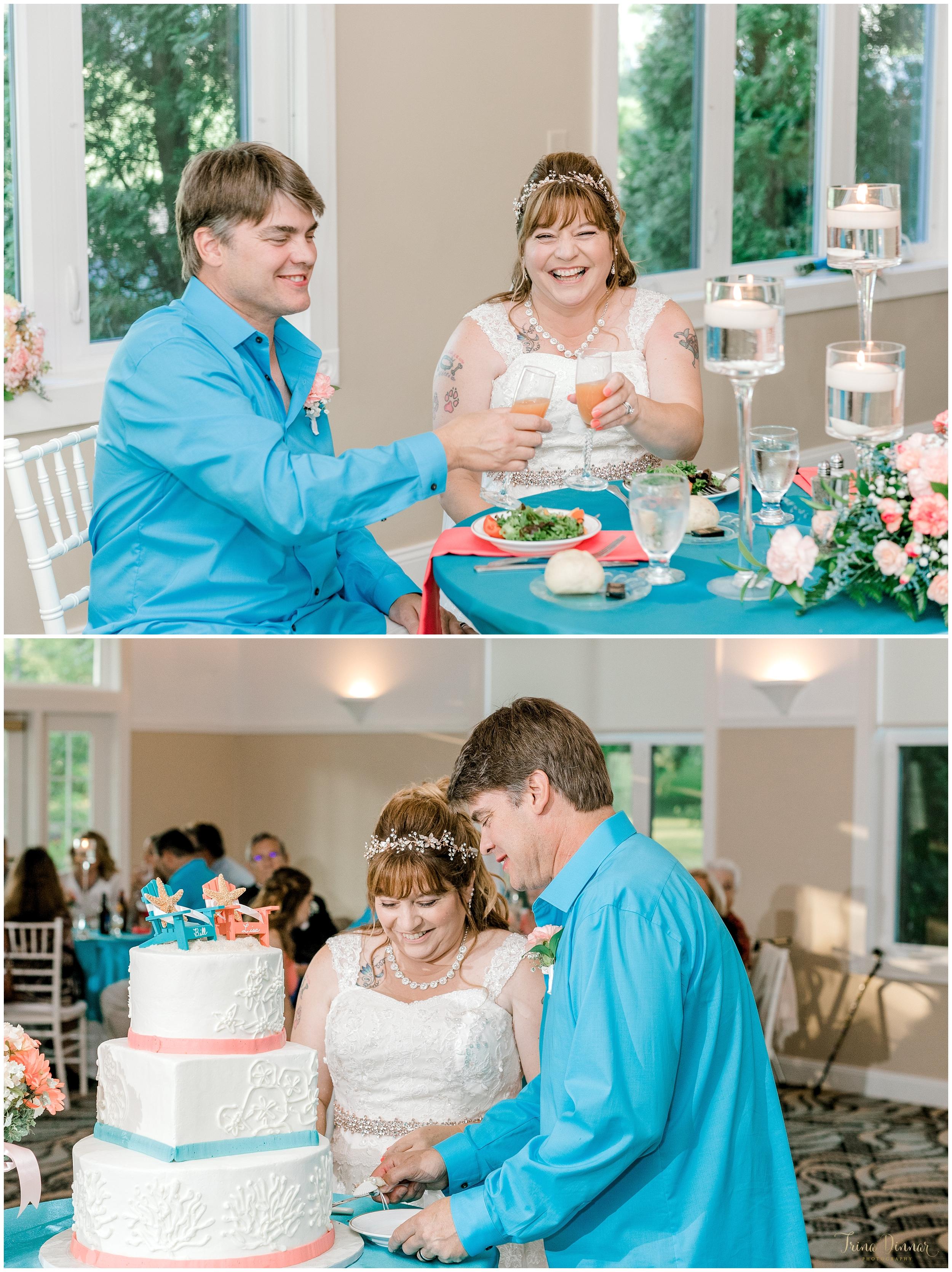 Toasts and cake cutting wedding photos