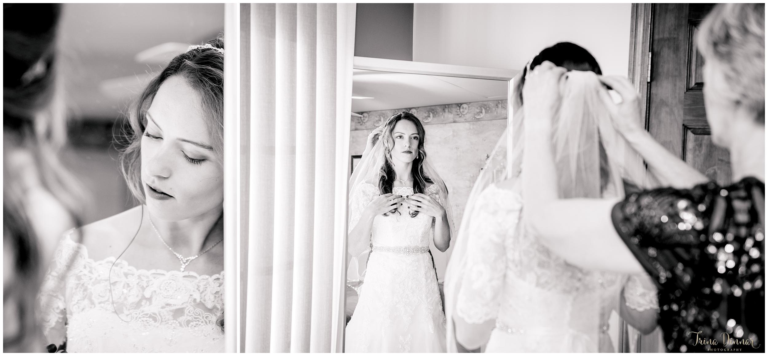Bride gets ready for her Seaside Wedding in Biddeford Pool, Maine