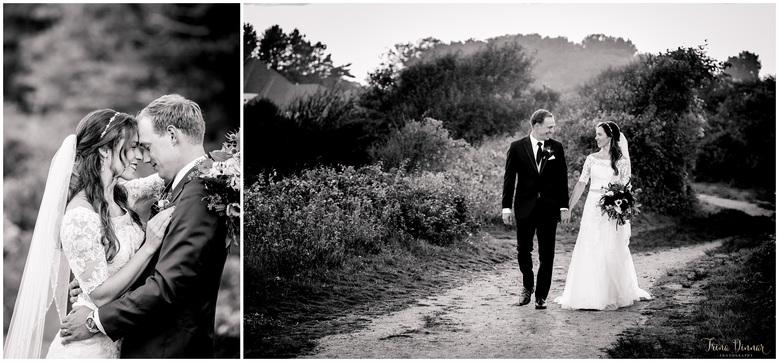 Black and white bride and groom's Maine wedding at Biddeford Pool