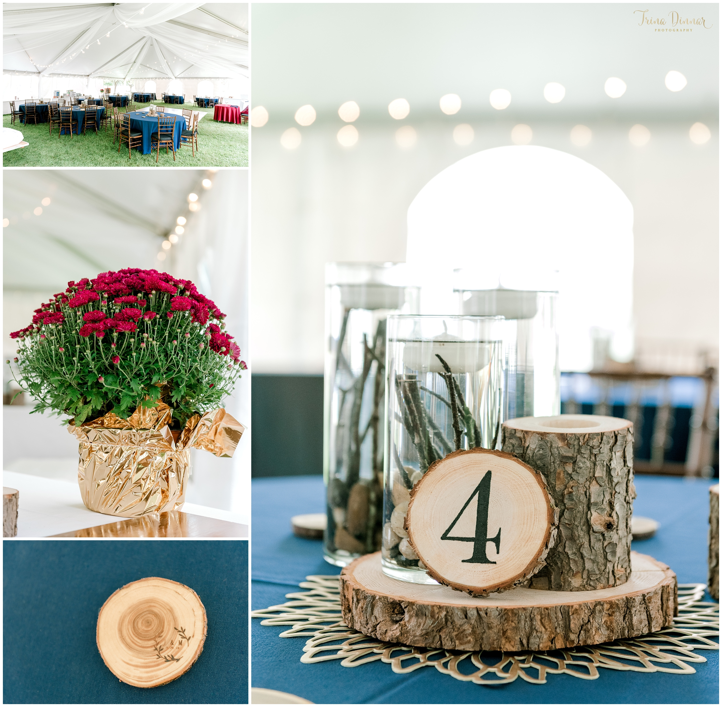 Handmade elegant rustic wedding reception centerpieces