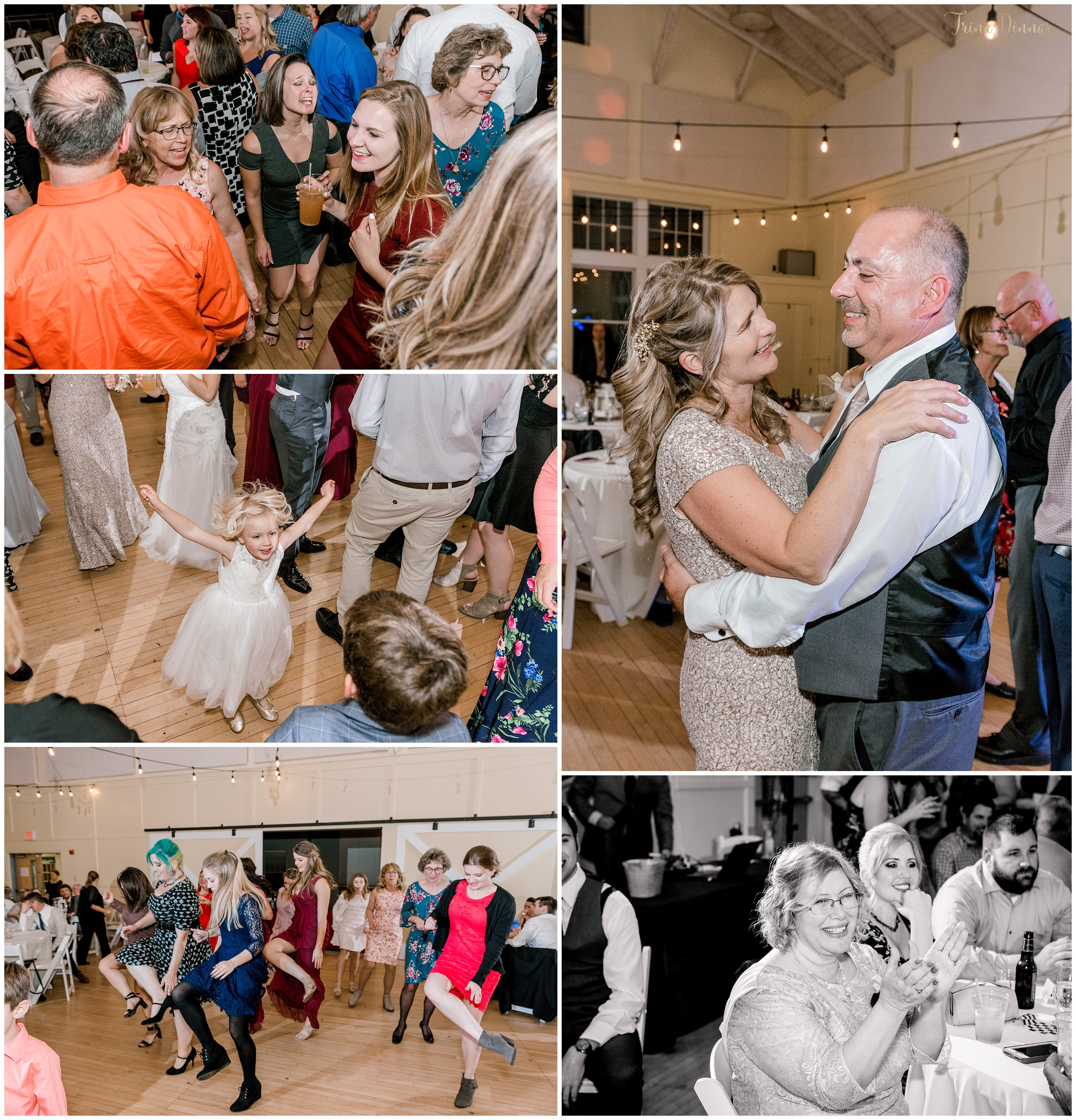 Dancing at rustic Maine wedding reception