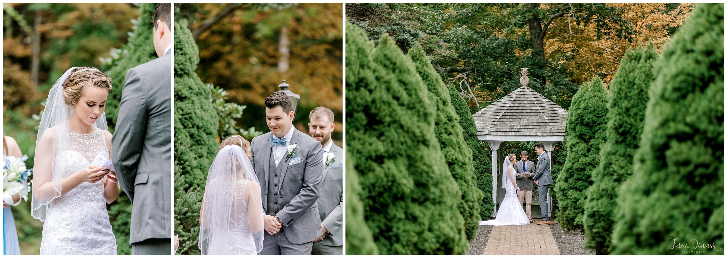 Cape Neddick Maine Clay Hill Farm fall wedding ceremony
