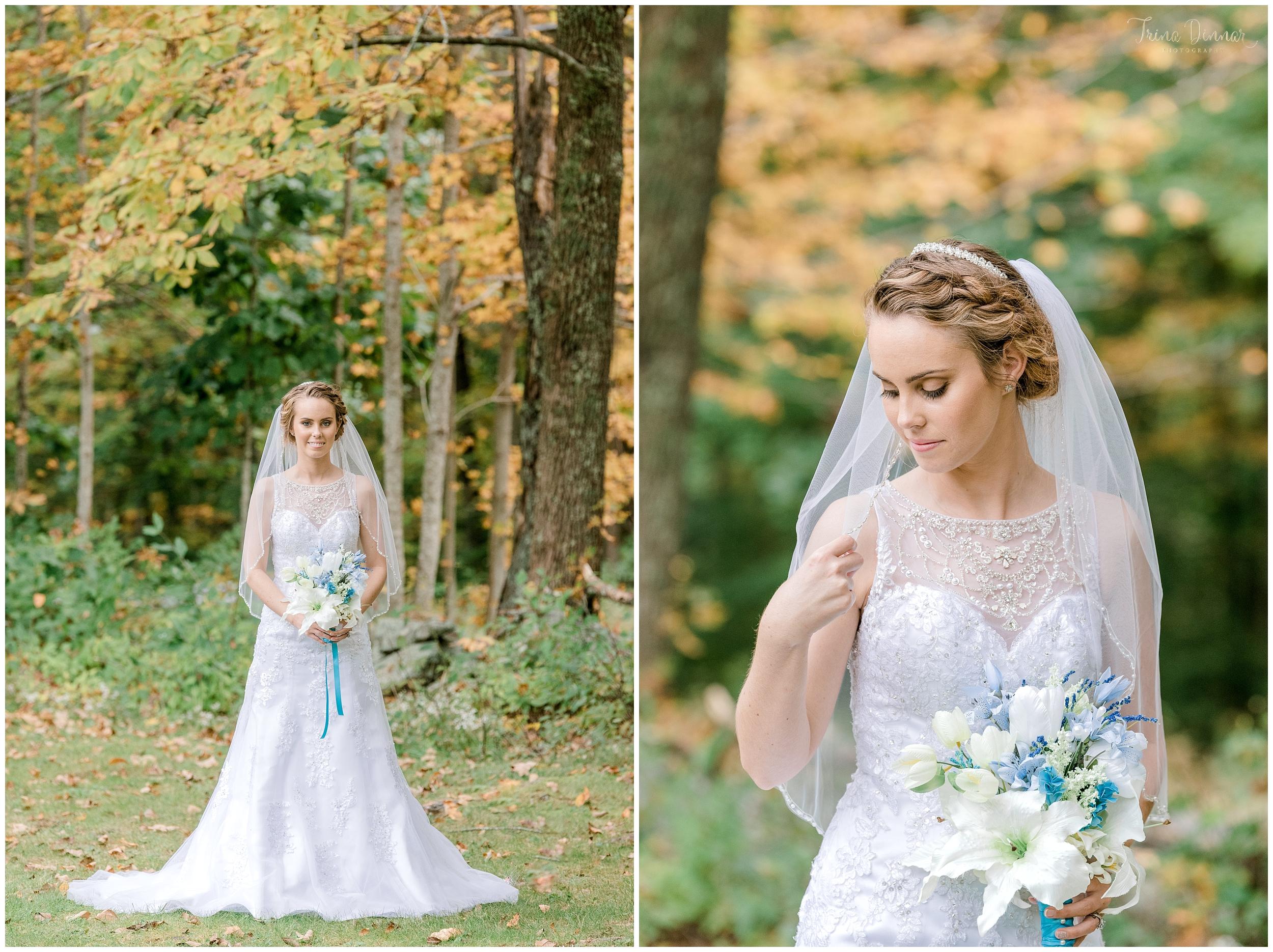 Bridal portrait photography at Clay Hill Farm ME Wedding.