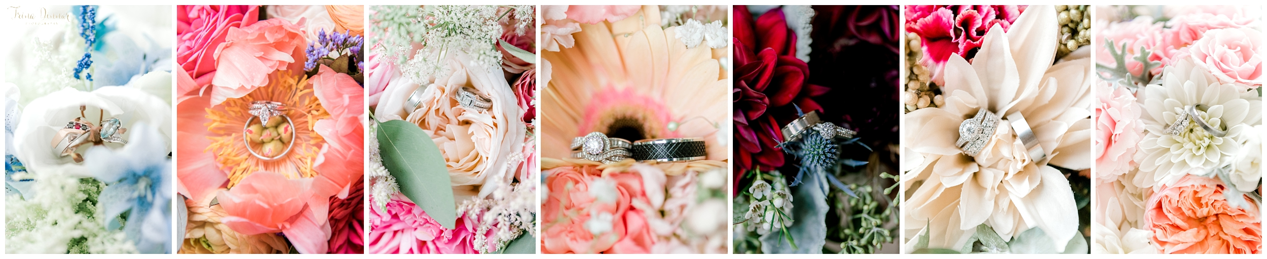 2018 Best Wedding Bouquets with Rings Photographed by Trina Dinnar.