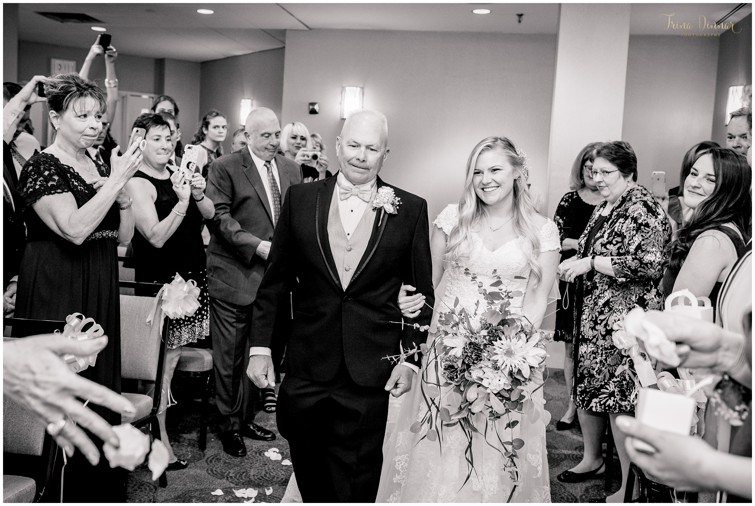 Bride Walking Up Aisle with her Father at the Sheraton Hotel in Portsmouth, New Hampshire.