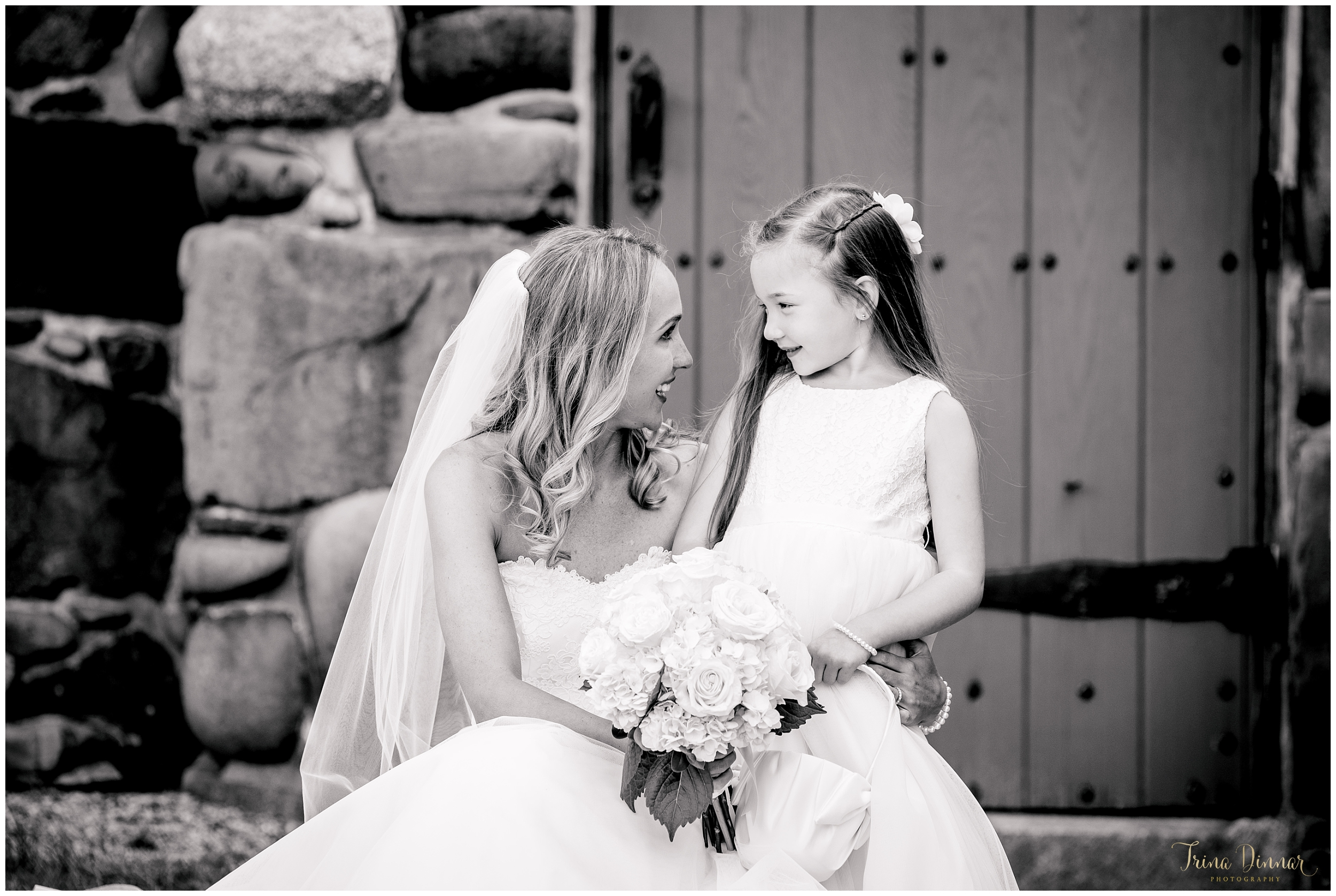 Maine Bride and Flower Girl Black and White Photo