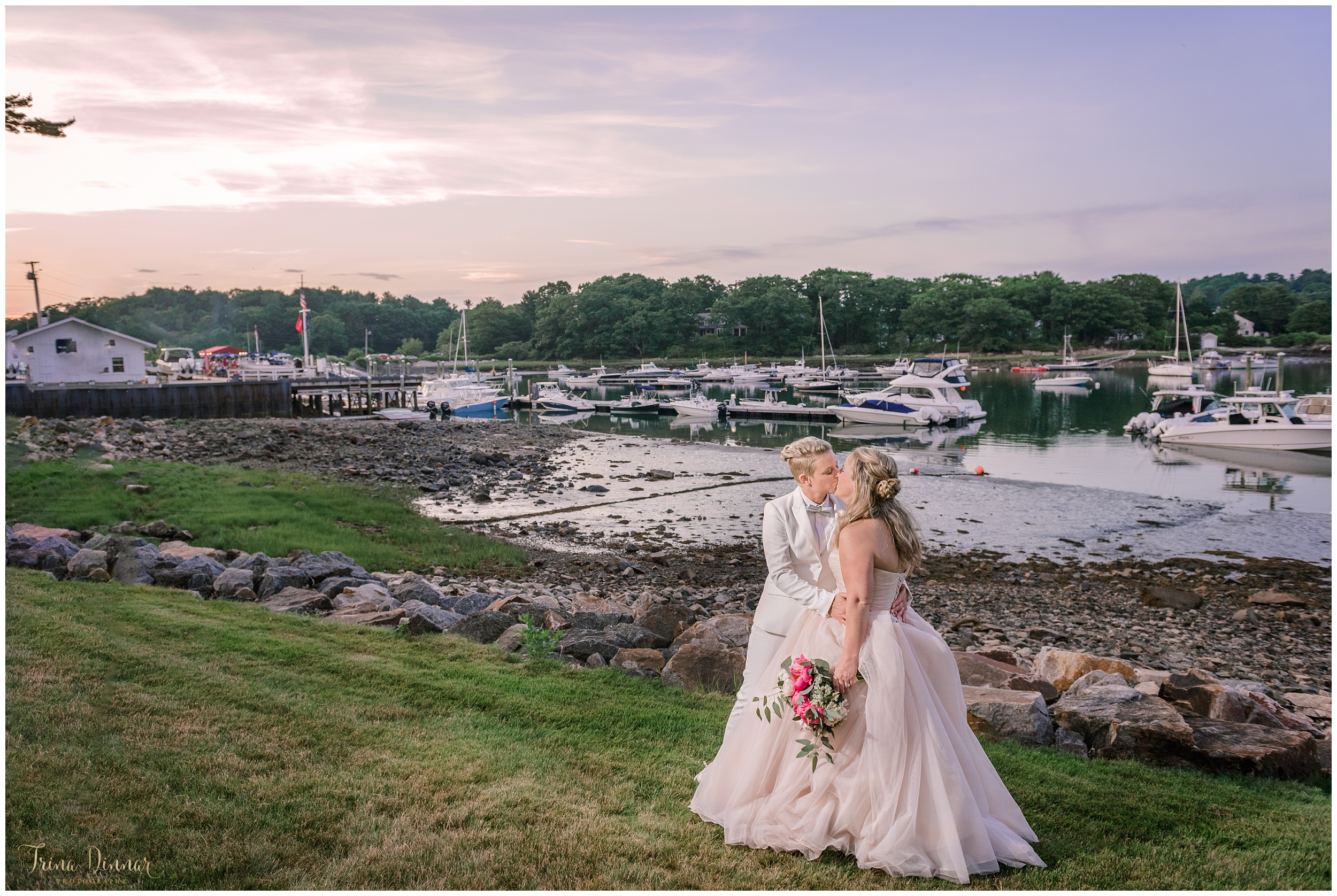 Emily and Kim's Dockside Wedding in York Harbor Maine at Sunset