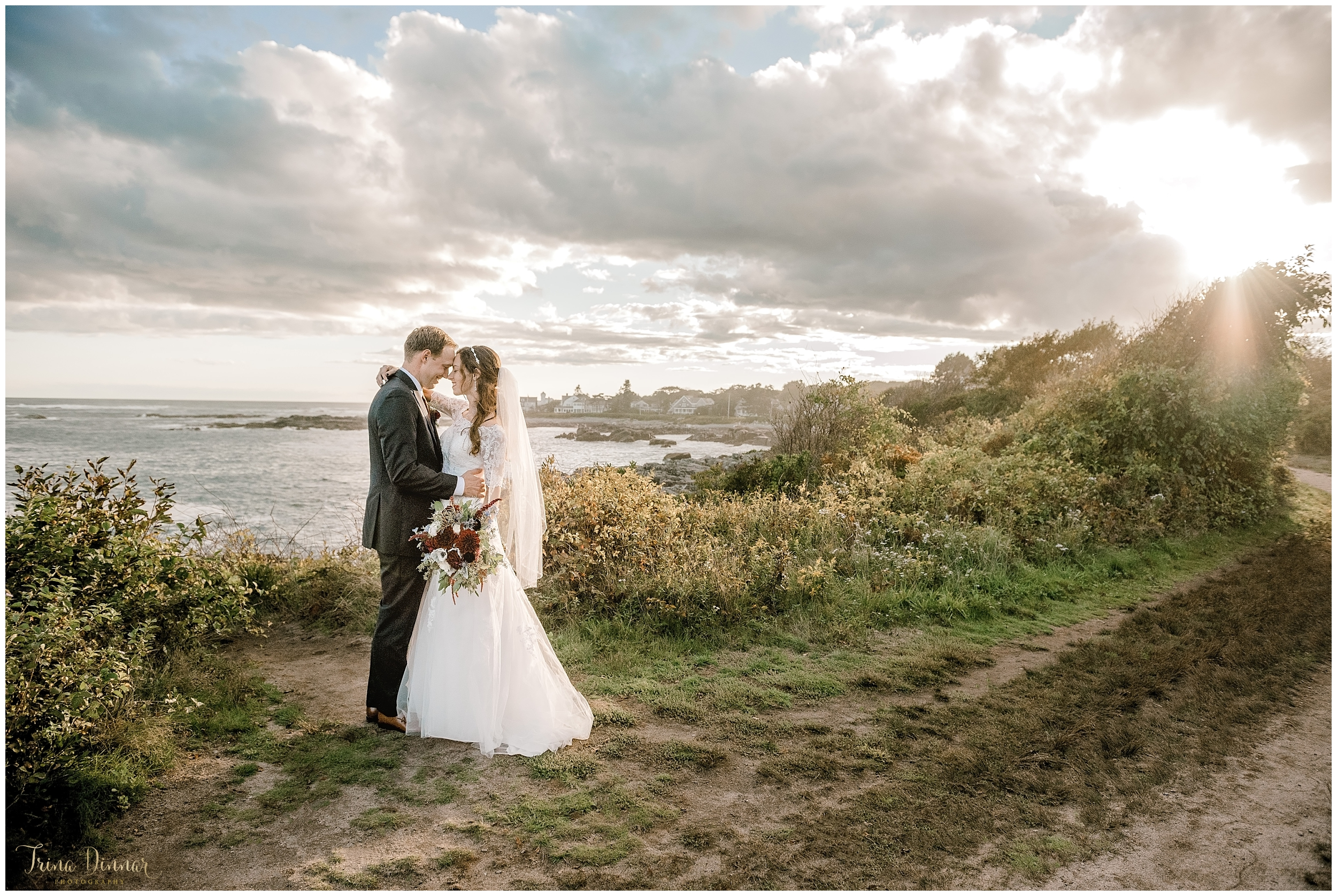 Stunning Maine Sunset Wedding Portrait Photography by Trina Dinnar - 2019 Best of Weddings Winner by The Knot.
