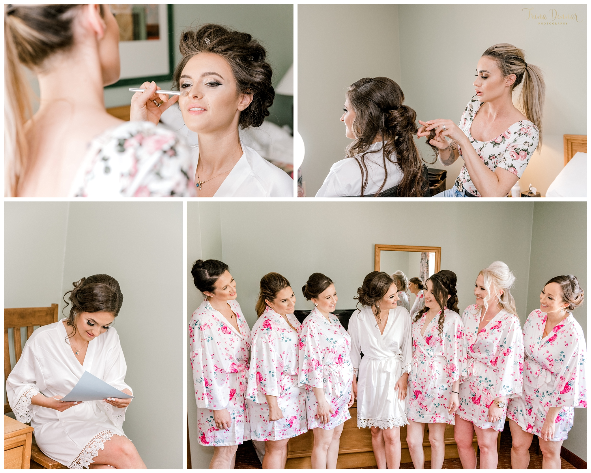 Bride and bridesmaids at Grand Summit Hotel's Bridal Suite in Newry, ME.