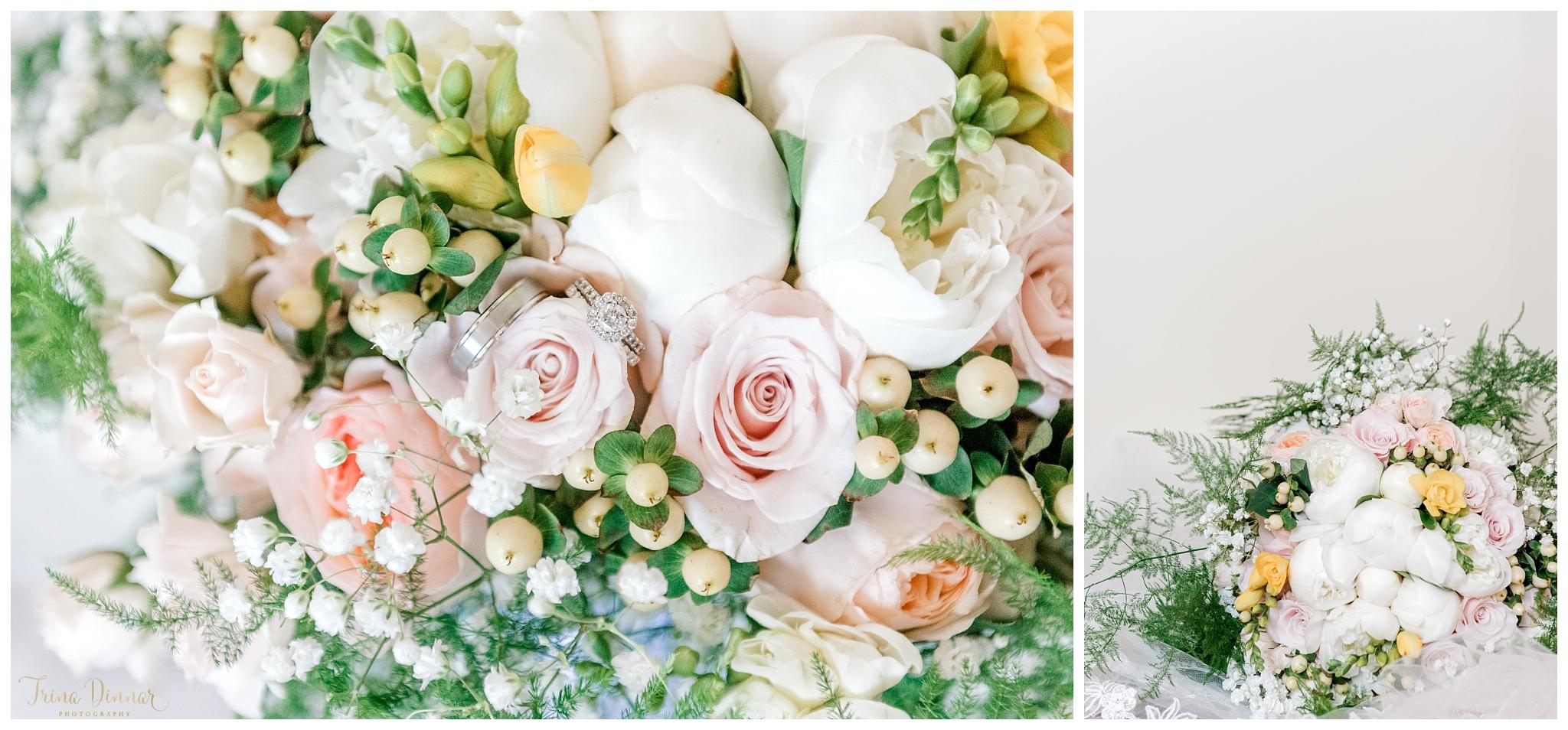 Greek American Maine Wedding Flowers and Rings