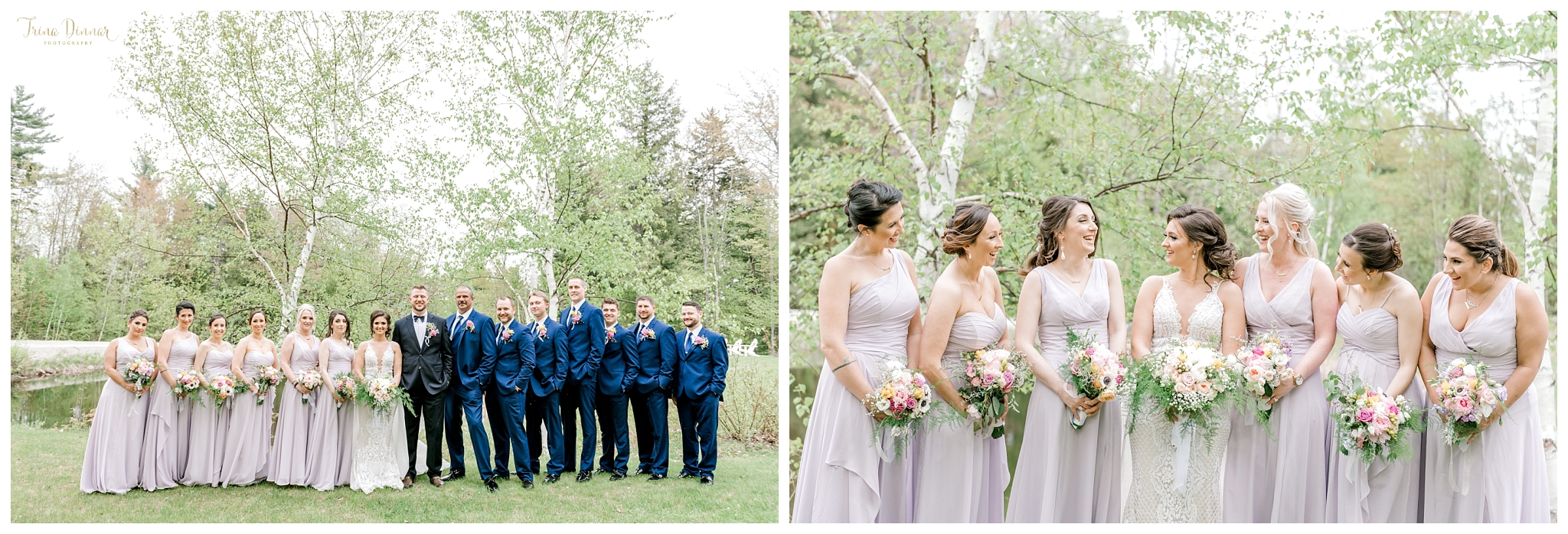 Wedding party photography portraits at Sunday River in Newry, Maine.