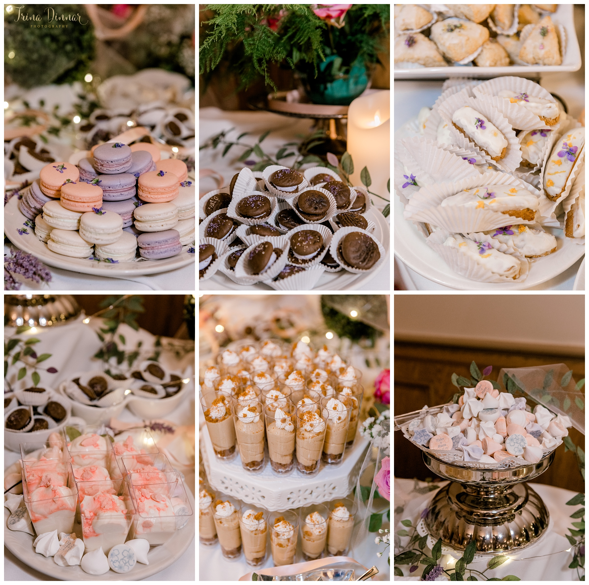 Sweets table filled with wedding desserts by Monique Dyke