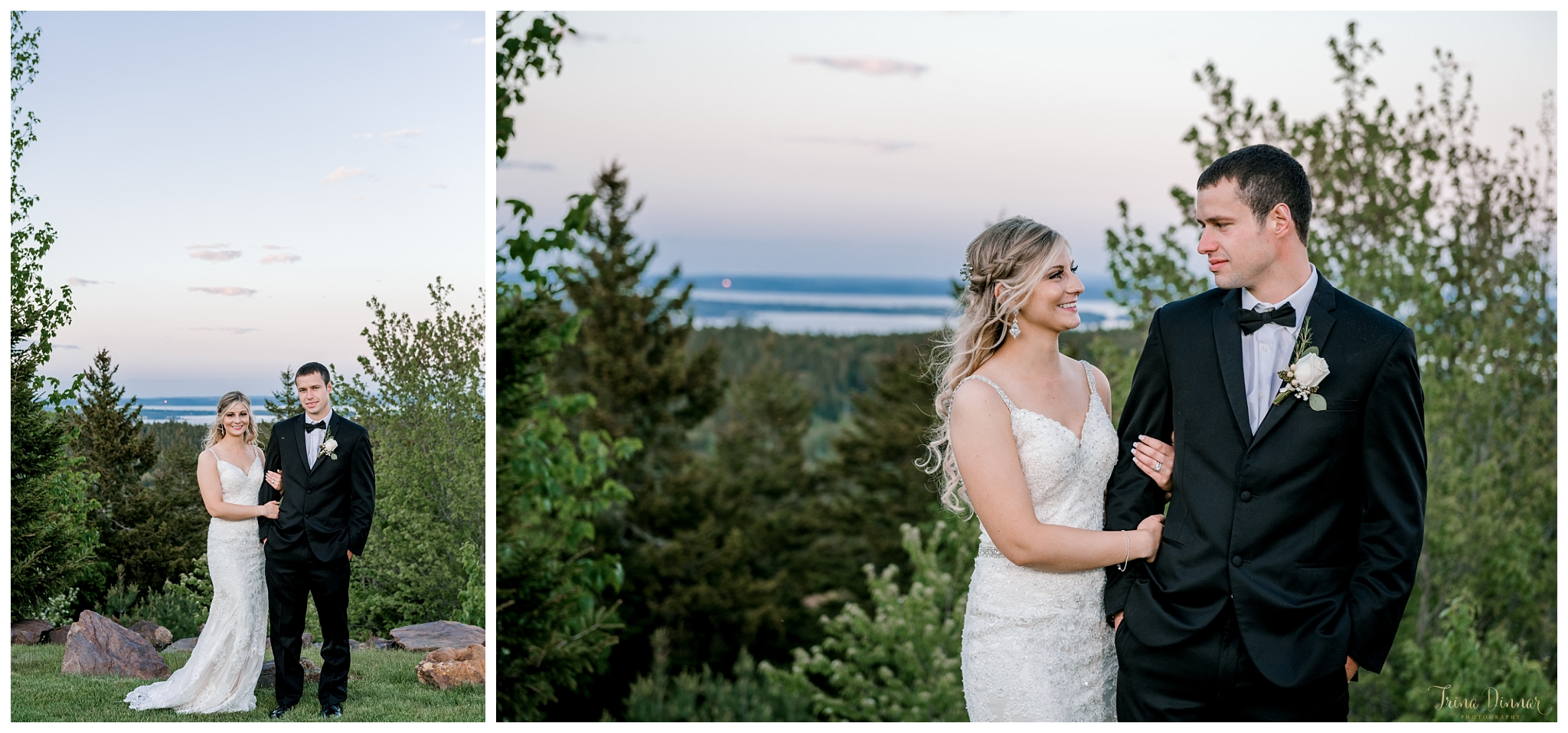 Bride and Groom Wedding Portraits in Midcoast Maine