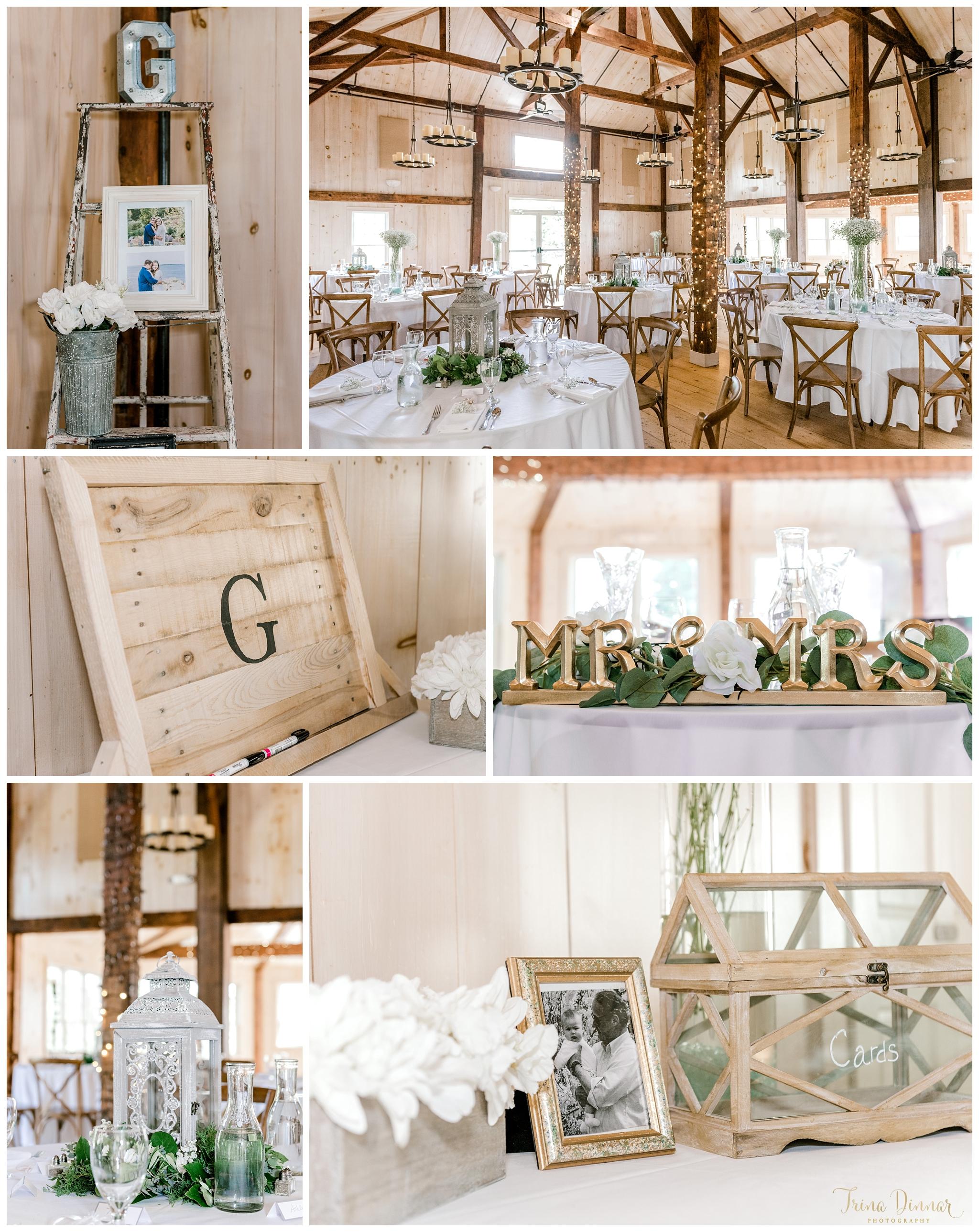 Rustic Maine Wedding Reception Barn Decor