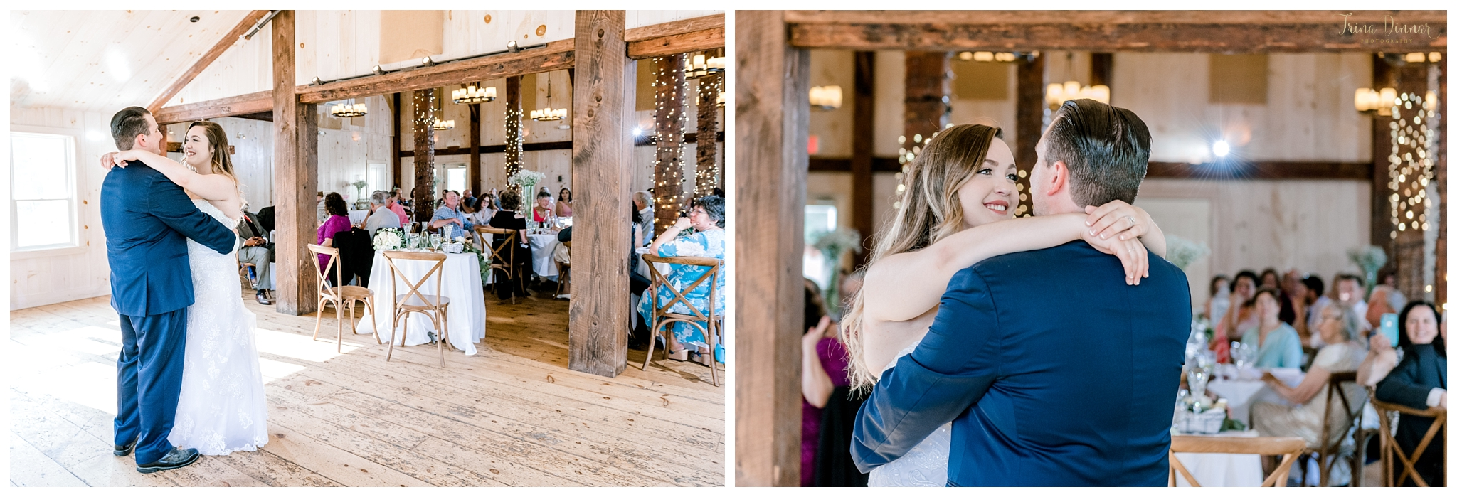 Bride and Groom's First Dance at the 1812 Farm in Bristol, Maine.